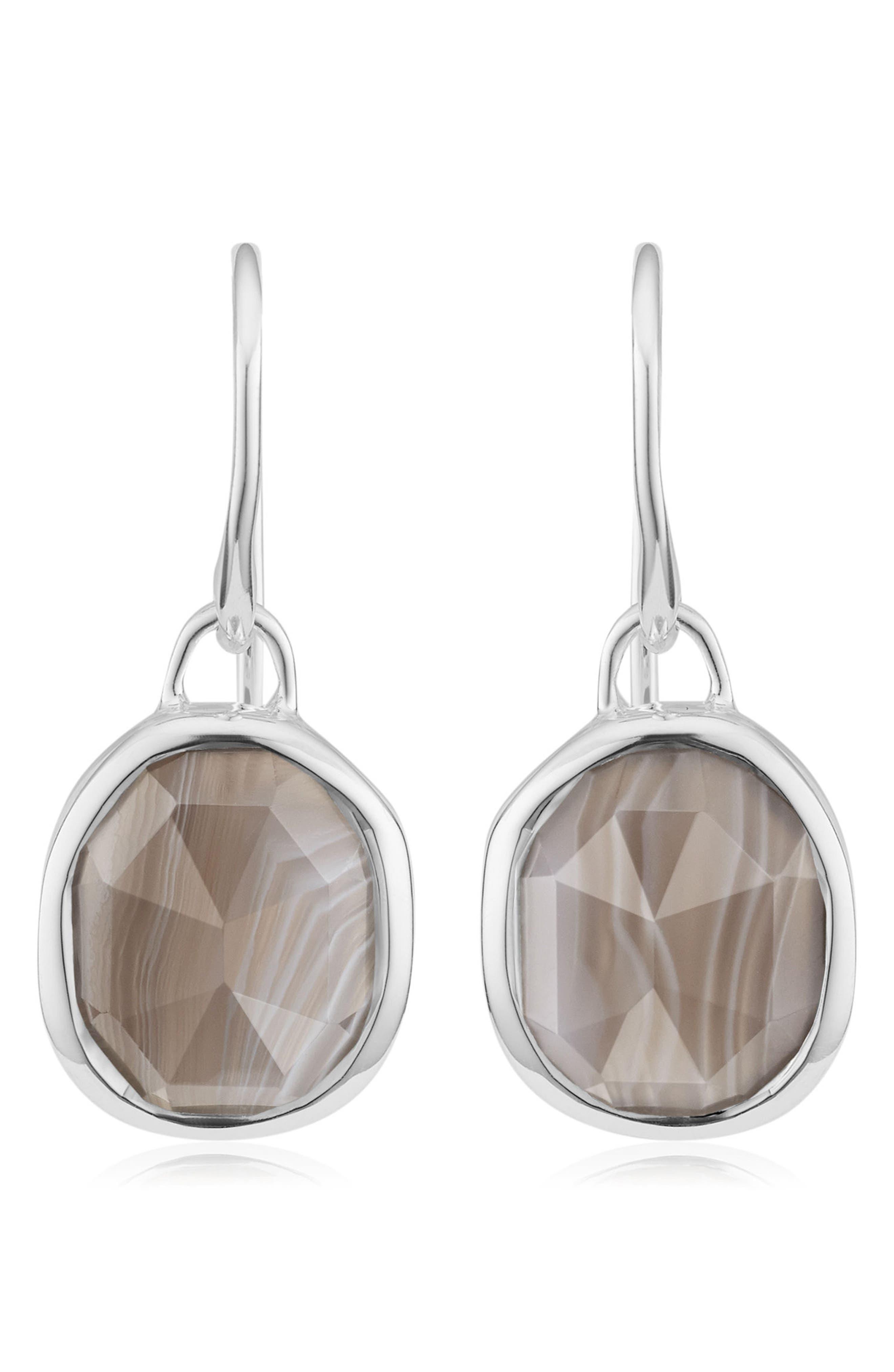 Siren Semiprecious Stone Drop Earrings,                         Main,                         color, SILVER/ GREY AGATE