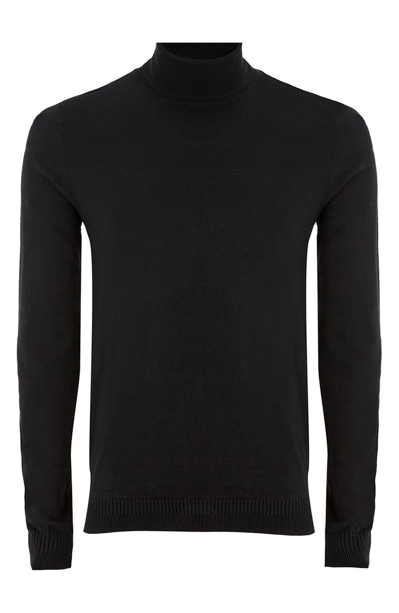 Cotton Turtleneck Sweater,                             Alternate thumbnail 4, color,                             001
