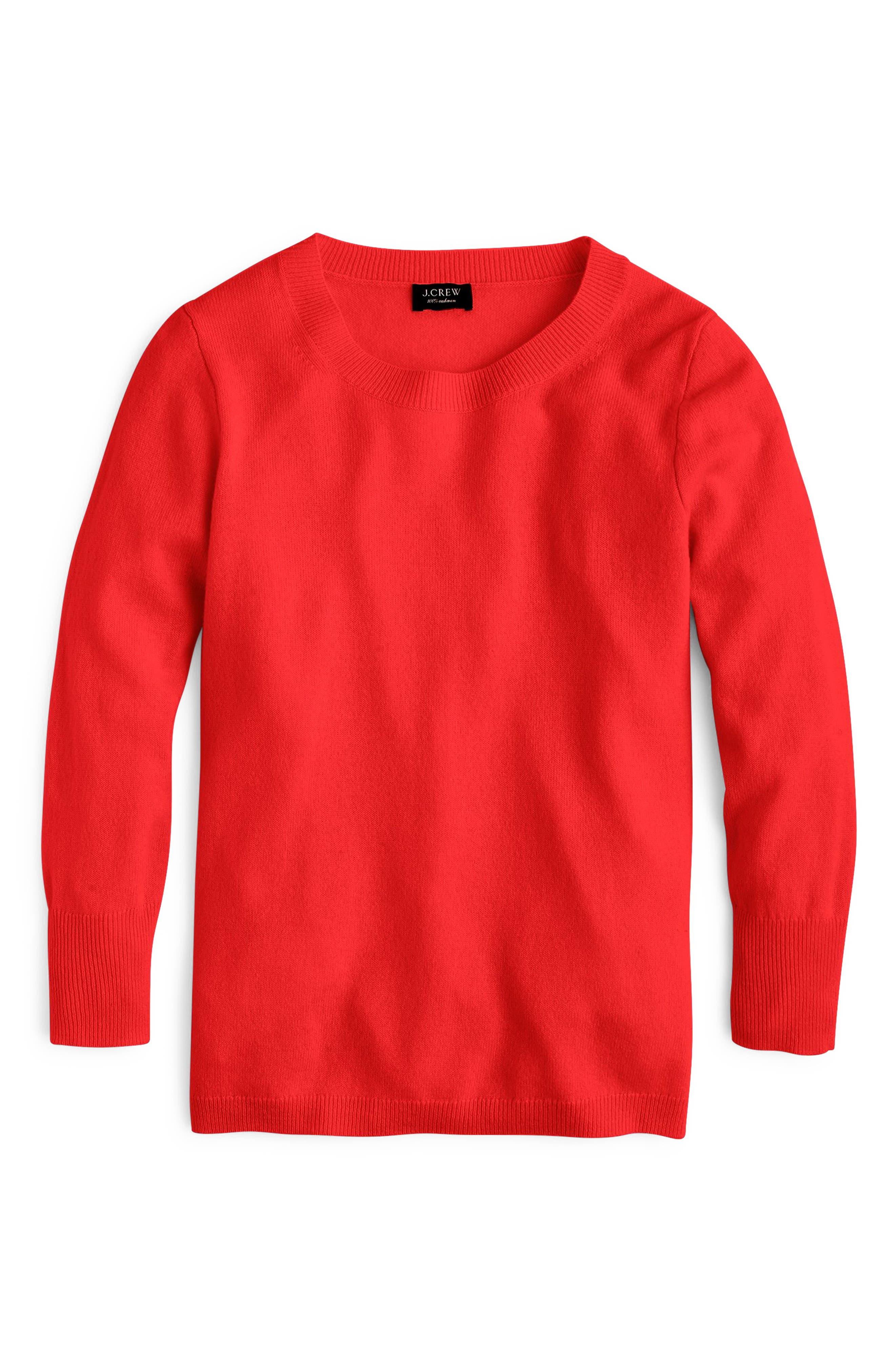Crewneck Cashmere Sweater, Main, color, BRIGHT CERISE