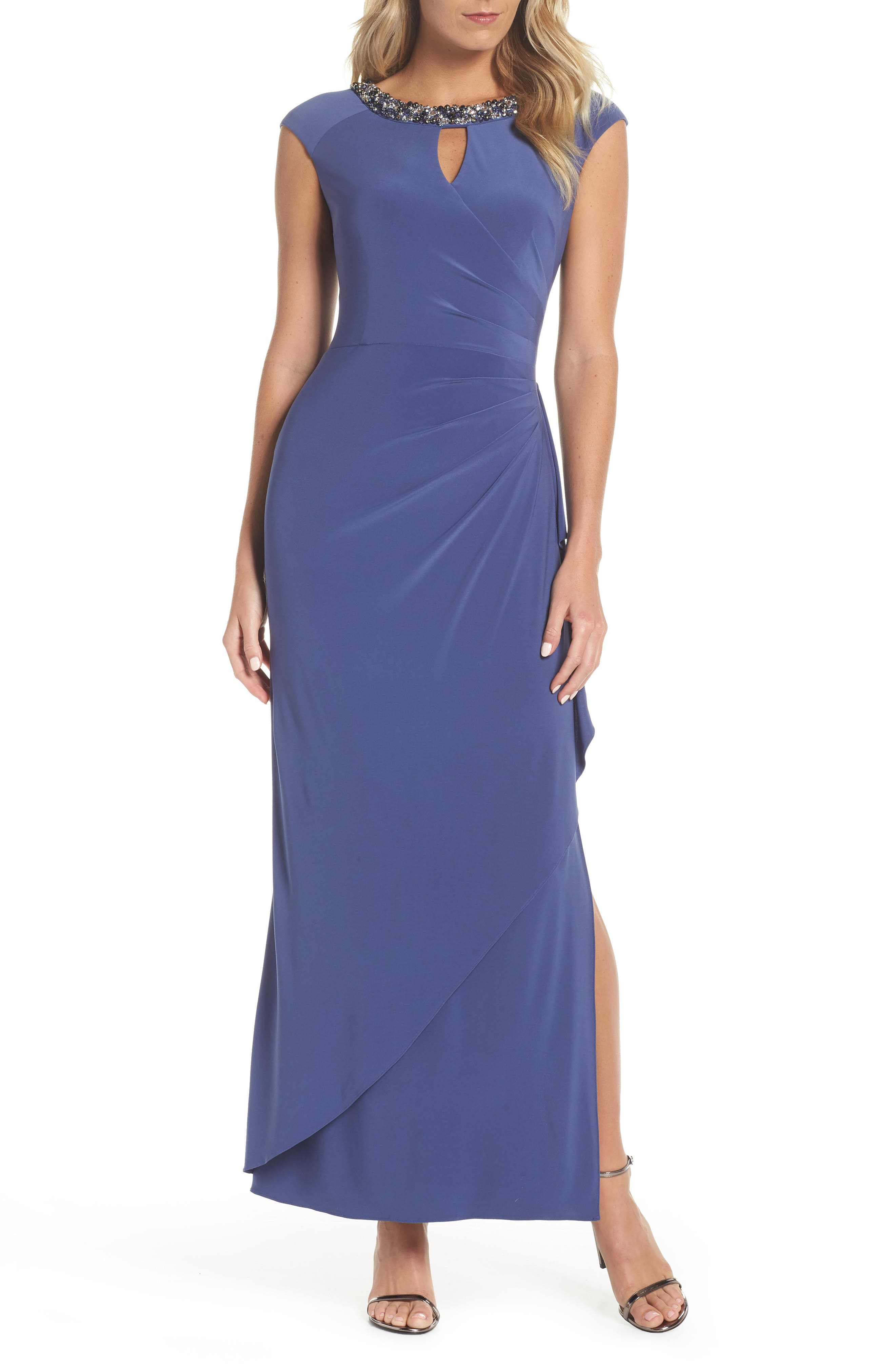 Embellished Cap Sleeve Gown,                             Main thumbnail 1, color,                             VIOLET