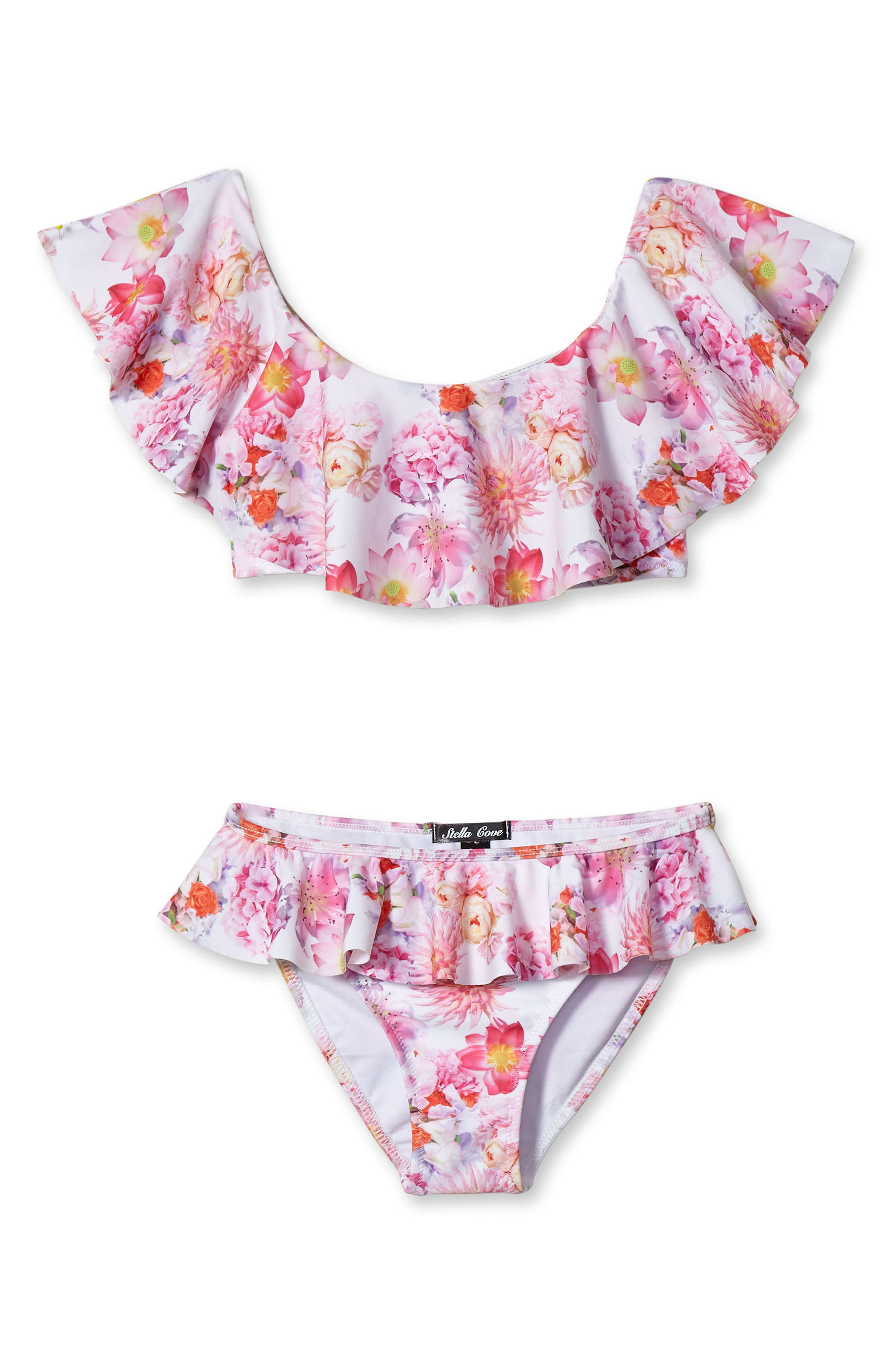 Floral Print Two-Piece Swimsuit,                             Main thumbnail 1, color,                             PIMK
