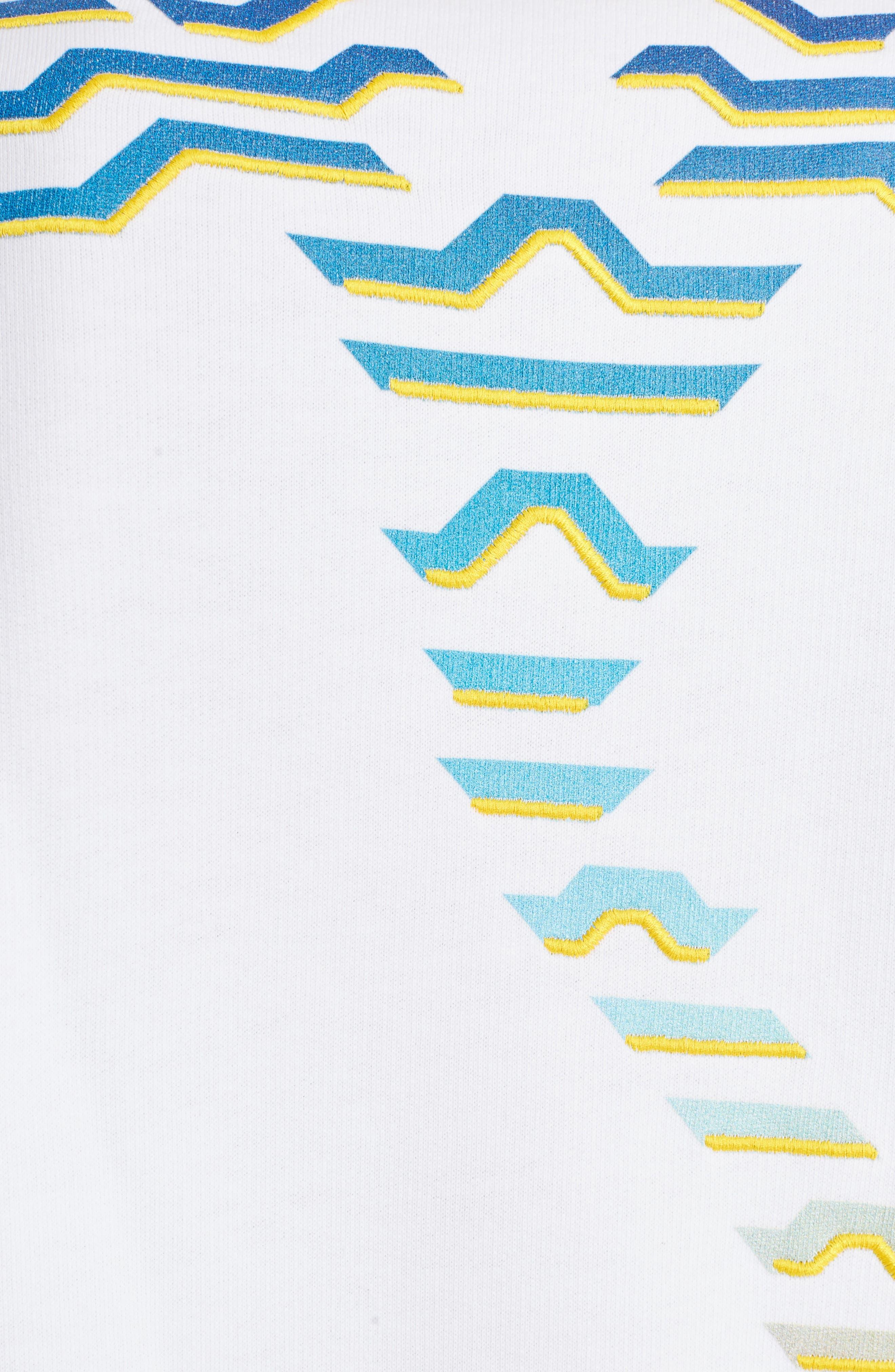 Rainbow Geo Tiger Embroidered Crewneck Sweatshirt,                             Alternate thumbnail 5, color,                             WHITE
