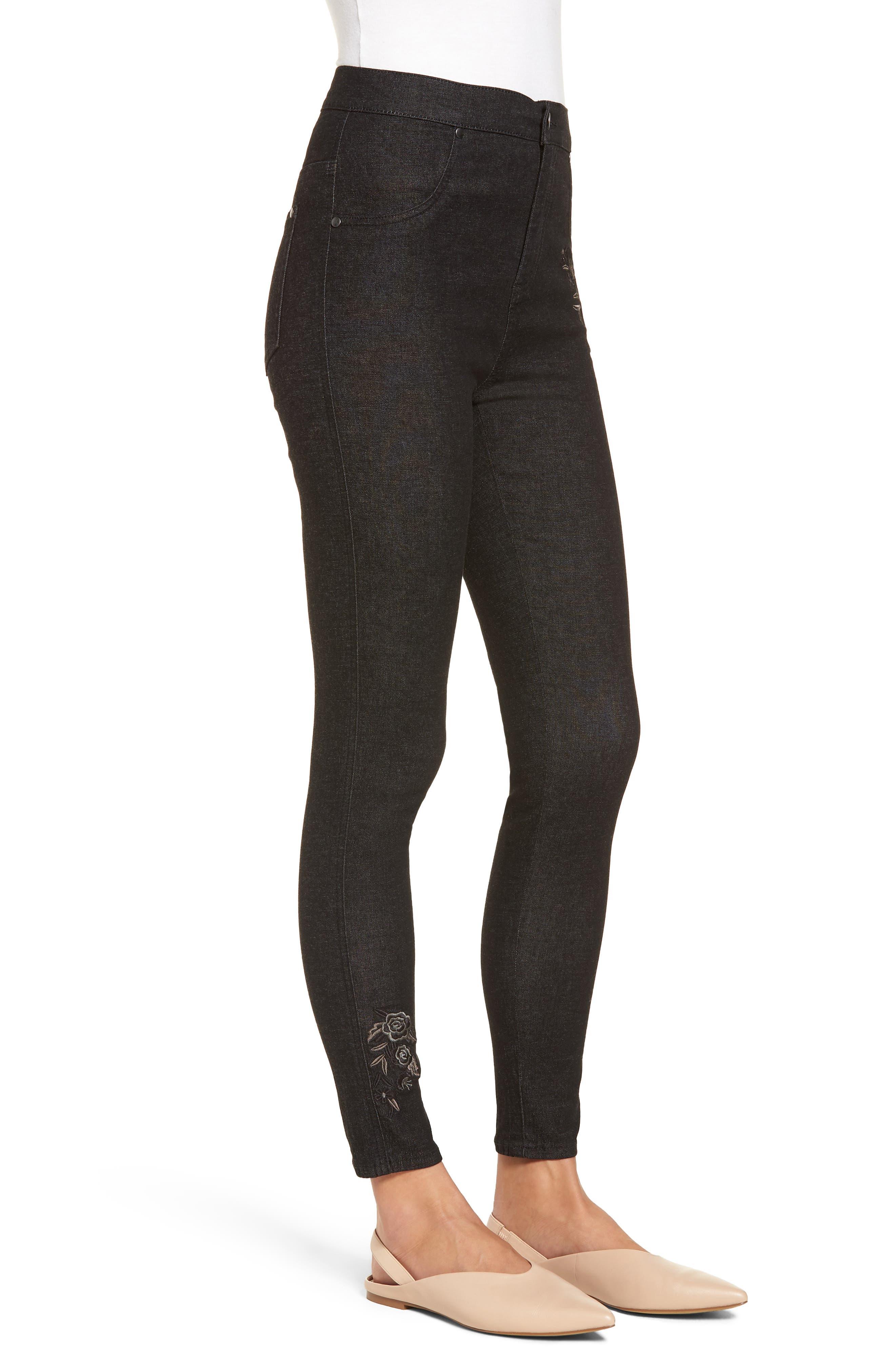 Embroidered Crop Denim Leggings,                             Alternate thumbnail 3, color,                             BLACK