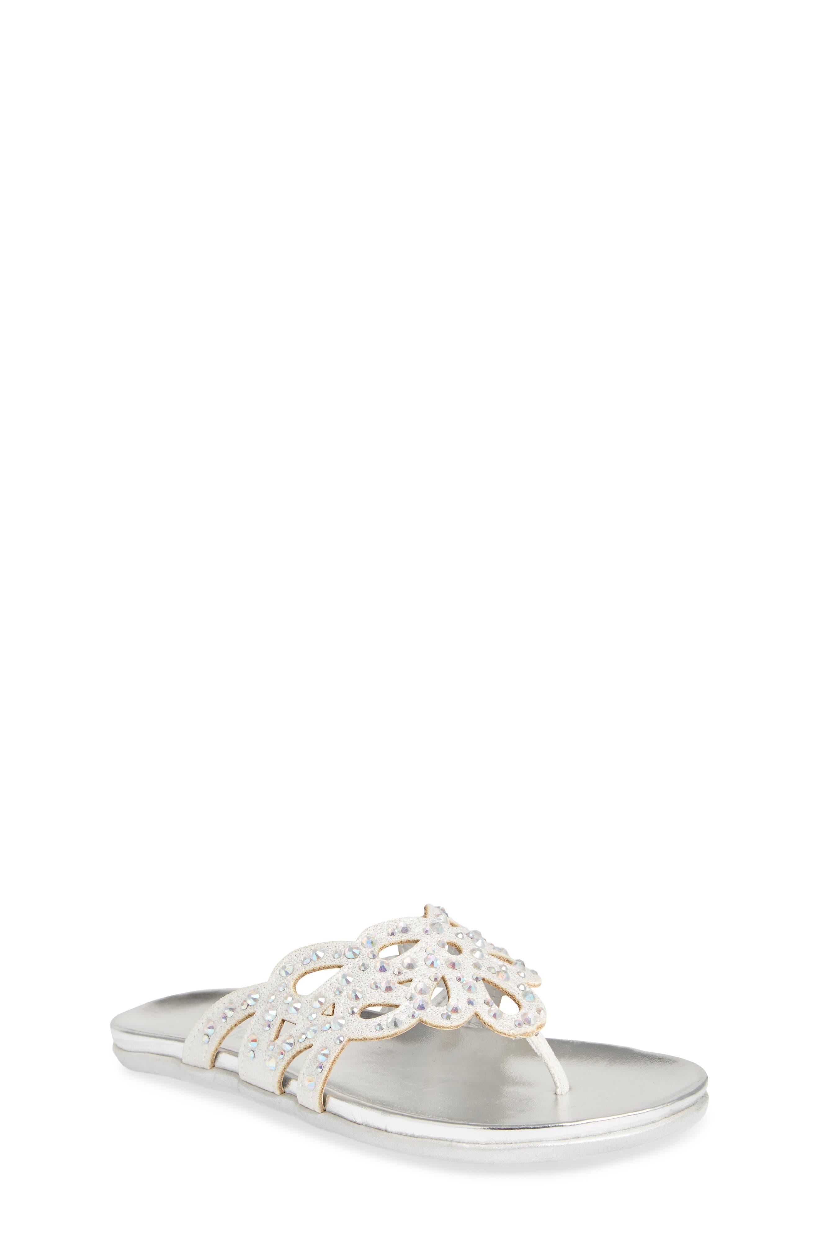 Kenneth Cole New York Flutter Metallic Crystal Thong Sandal,                             Main thumbnail 1, color,                             044