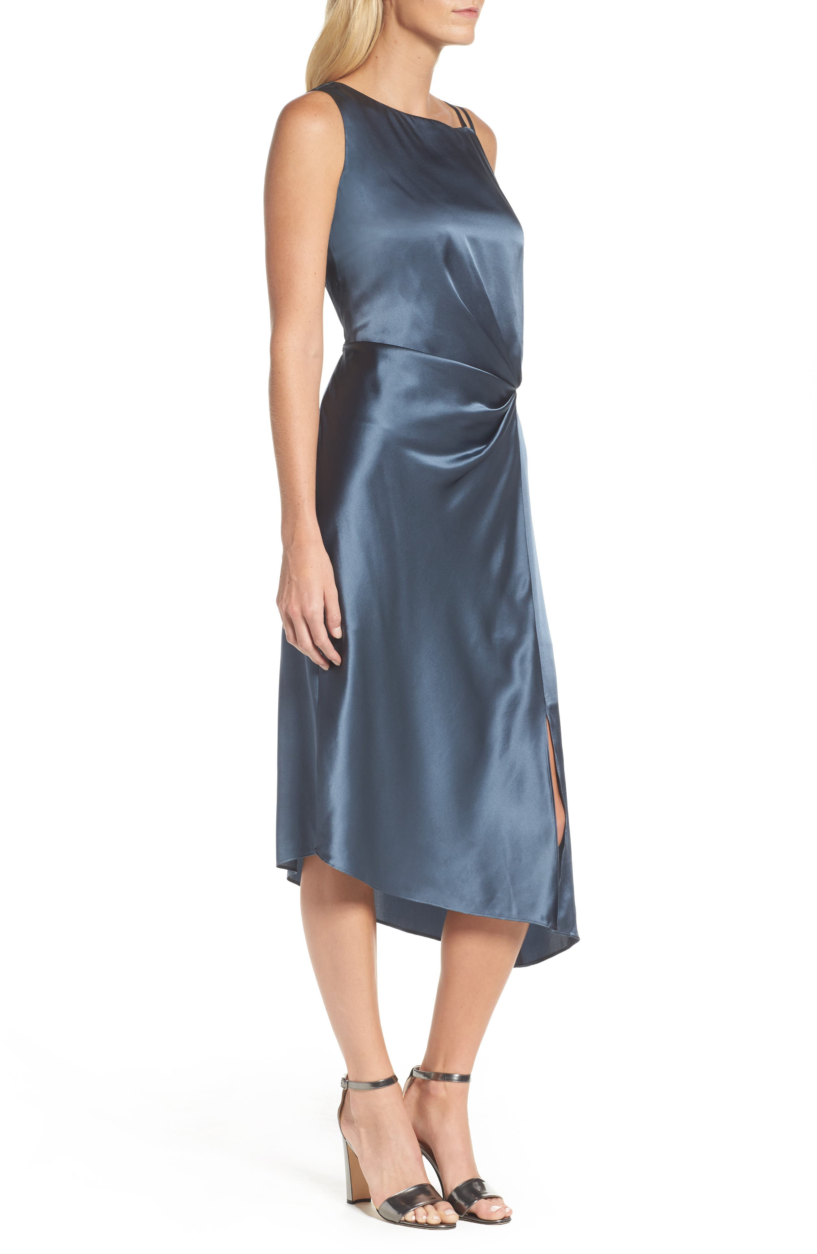 Ruched Satin Sheath Dress,                             Alternate thumbnail 3, color,                             451
