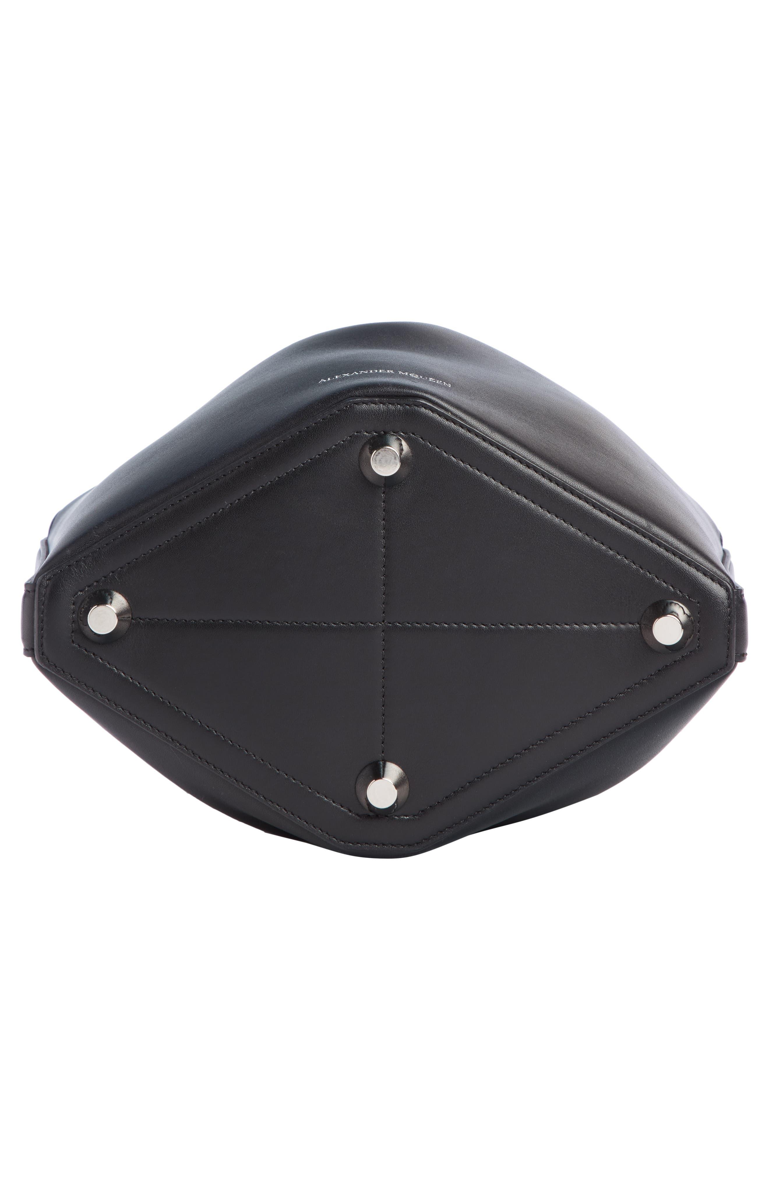 Bicolor Leather Bucket Bag,                             Alternate thumbnail 5, color,                             BLACK/ LUST RED
