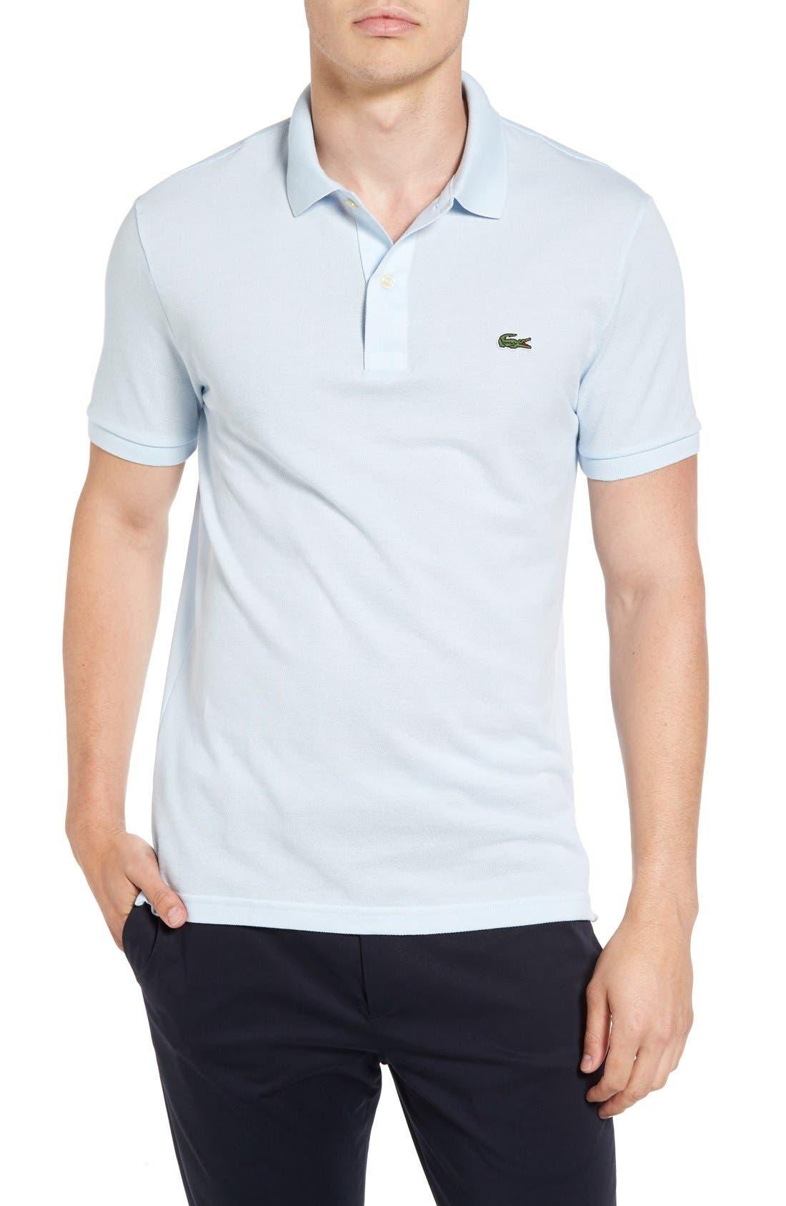 LACOSTE Slim Fit Piqué Polo, Main, color, RILL LIGHT BLUE