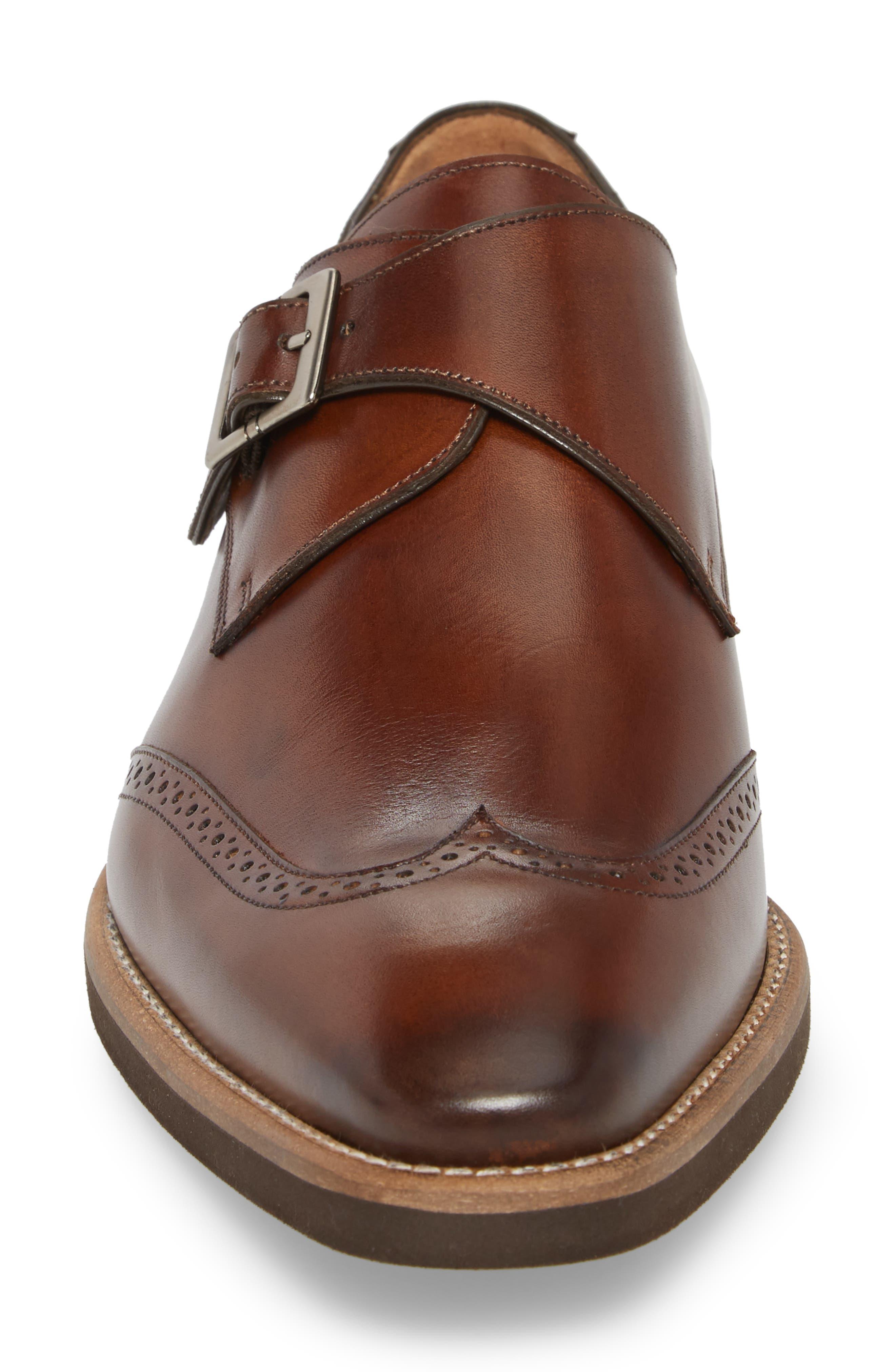 Feresta Wingtip Monk Shoe,                             Alternate thumbnail 4, color,                             COGNAC