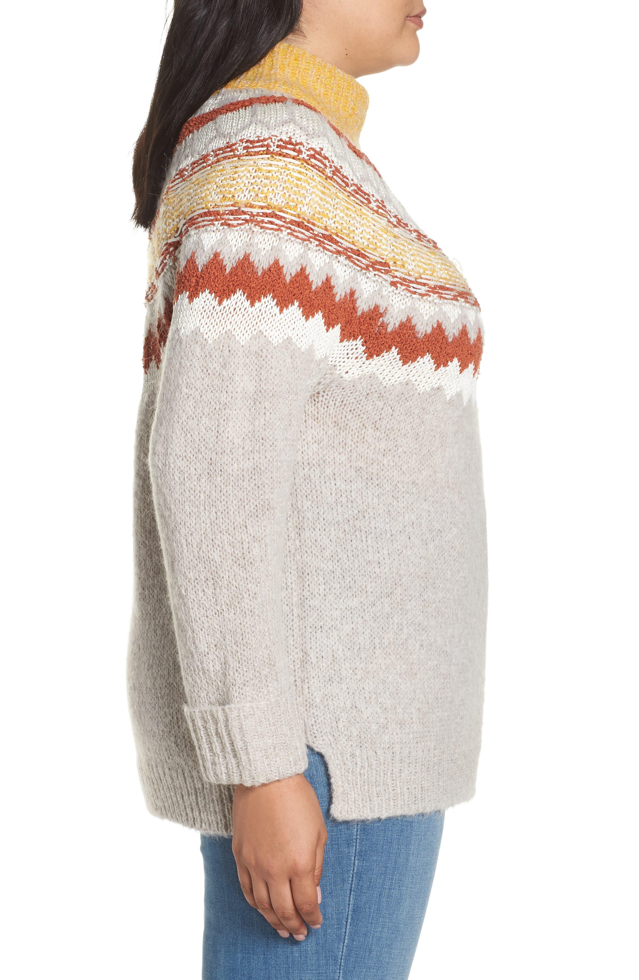 Chunky Jacquard Sweater,                             Alternate thumbnail 3, color,                             TAN COBBLESTONE FOLIAGE PTN
