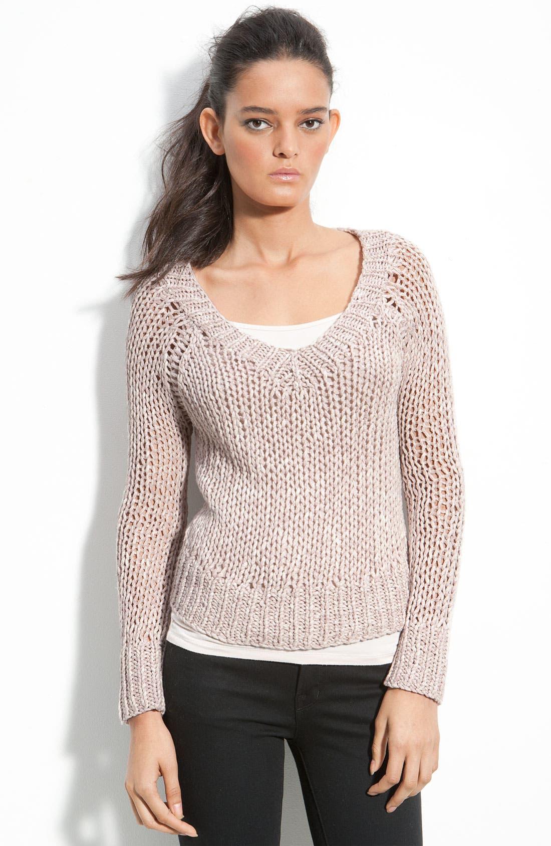 Chunky Loose Knit V-Neck Sweater,                             Main thumbnail 1, color,                             650