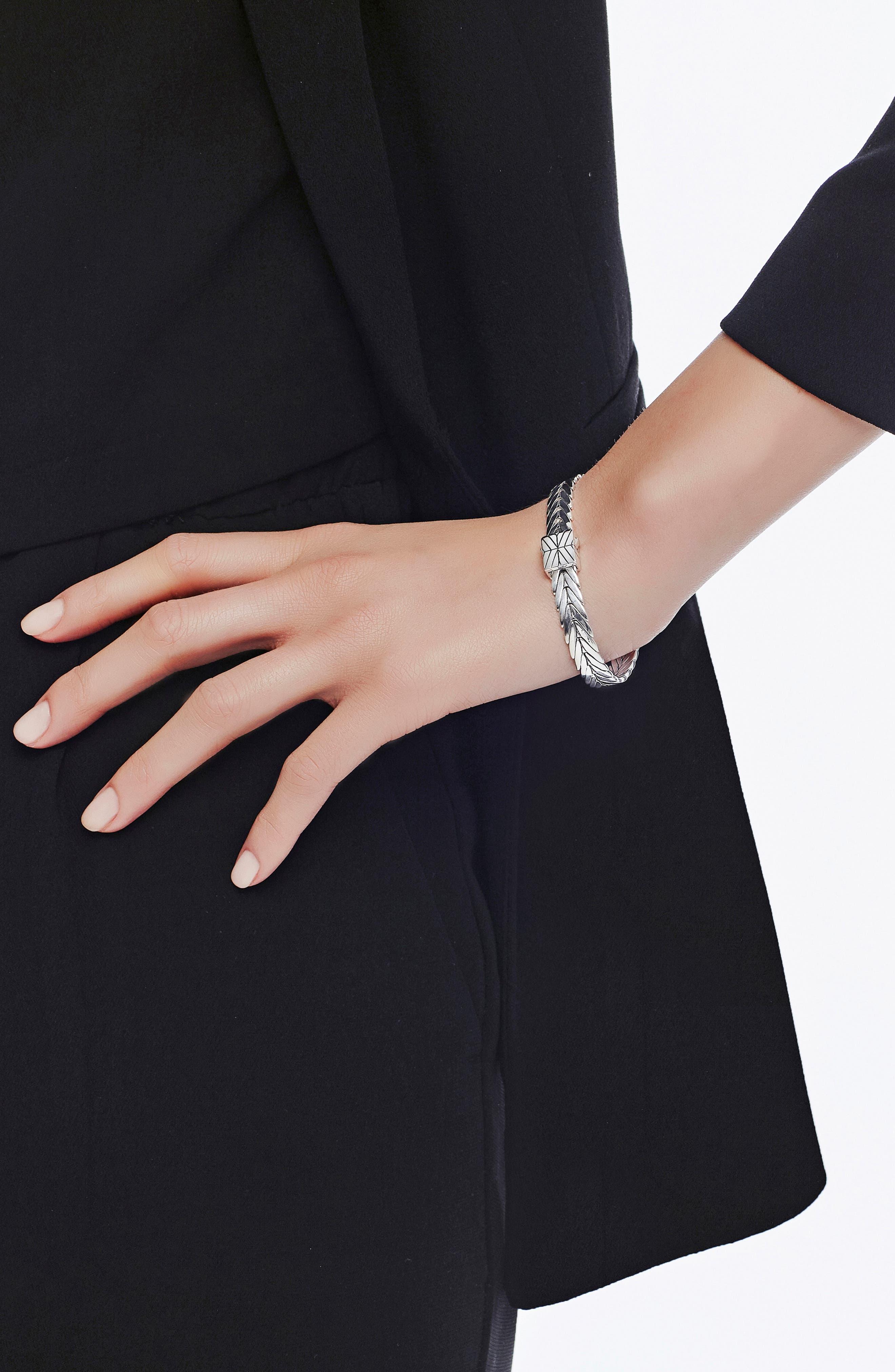 Modern Chain 8mm Bracelet,                             Alternate thumbnail 2, color,                             SILVER