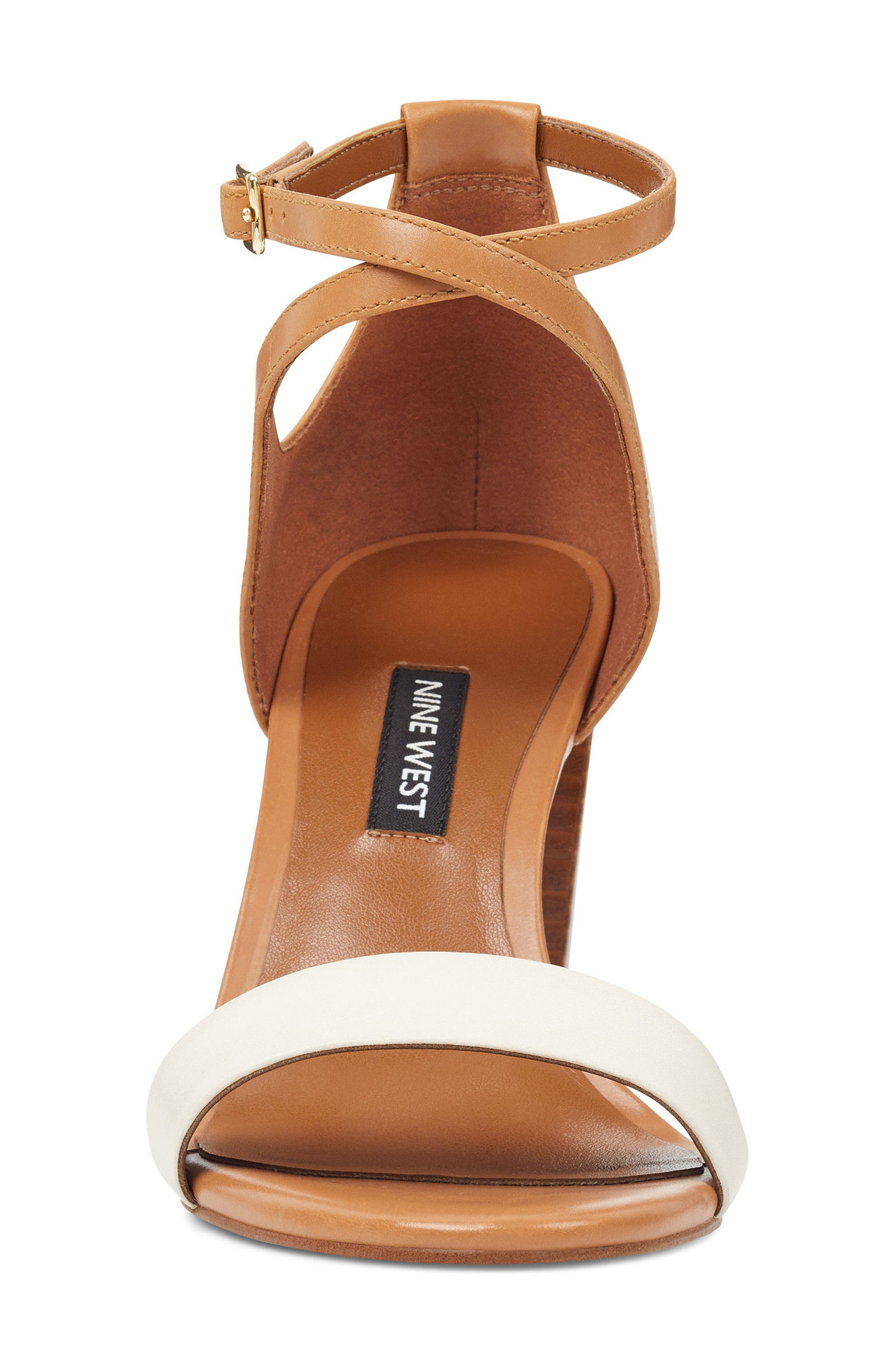 Nunzaya Ankle Strap Sandal,                             Alternate thumbnail 4, color,                             OFF WHITE/ NATURAL LEATHER