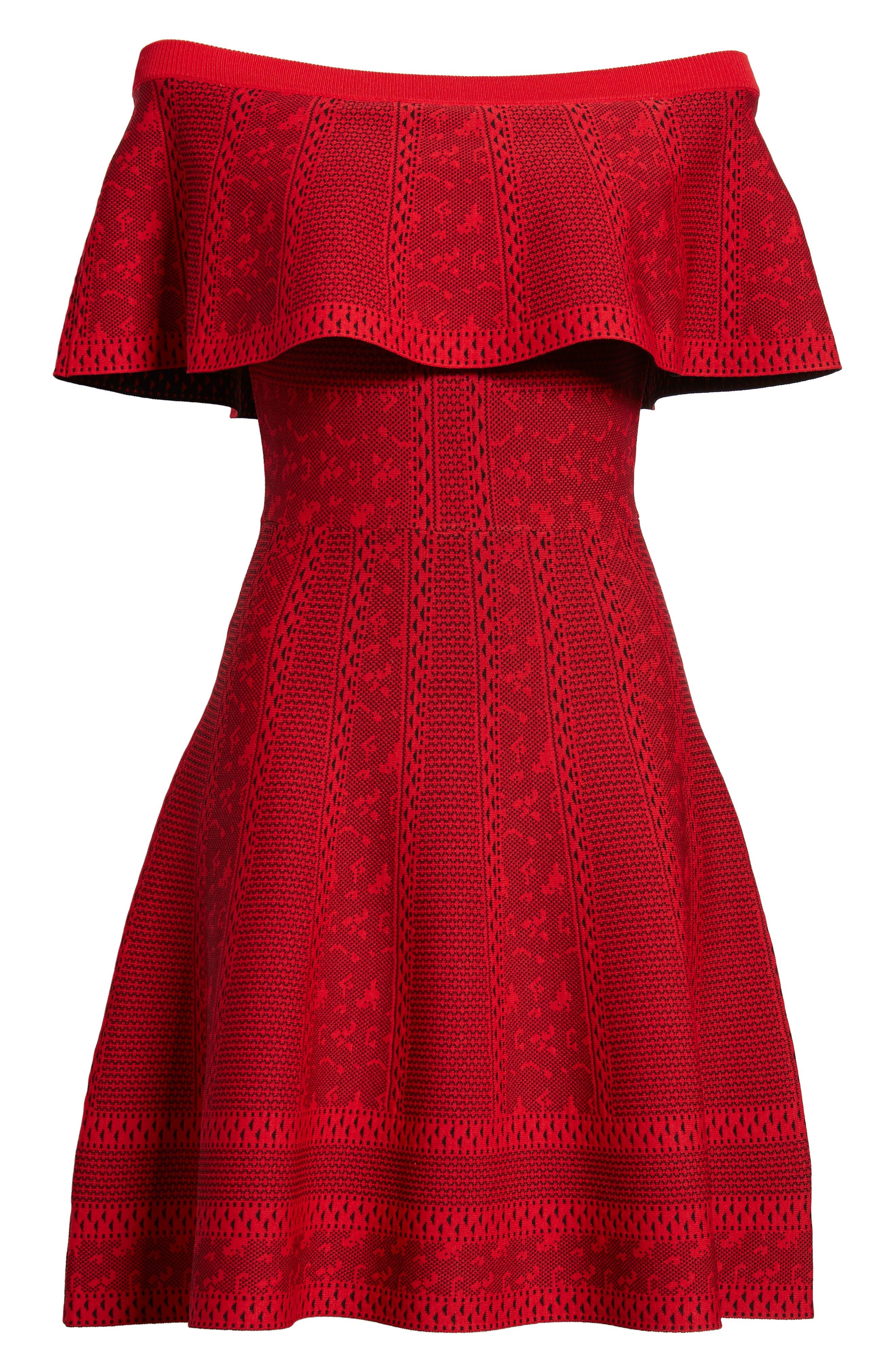 Off the Shoulder Fit & Flare Dress,                             Alternate thumbnail 7, color,                             RED