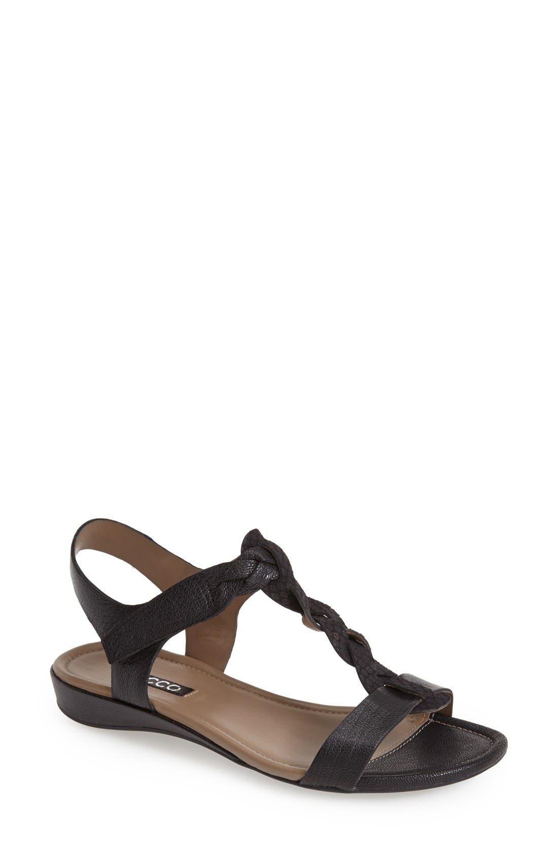 ECCO,                             'Bouillon' Leather Sandal,                             Main thumbnail 1, color,                             001