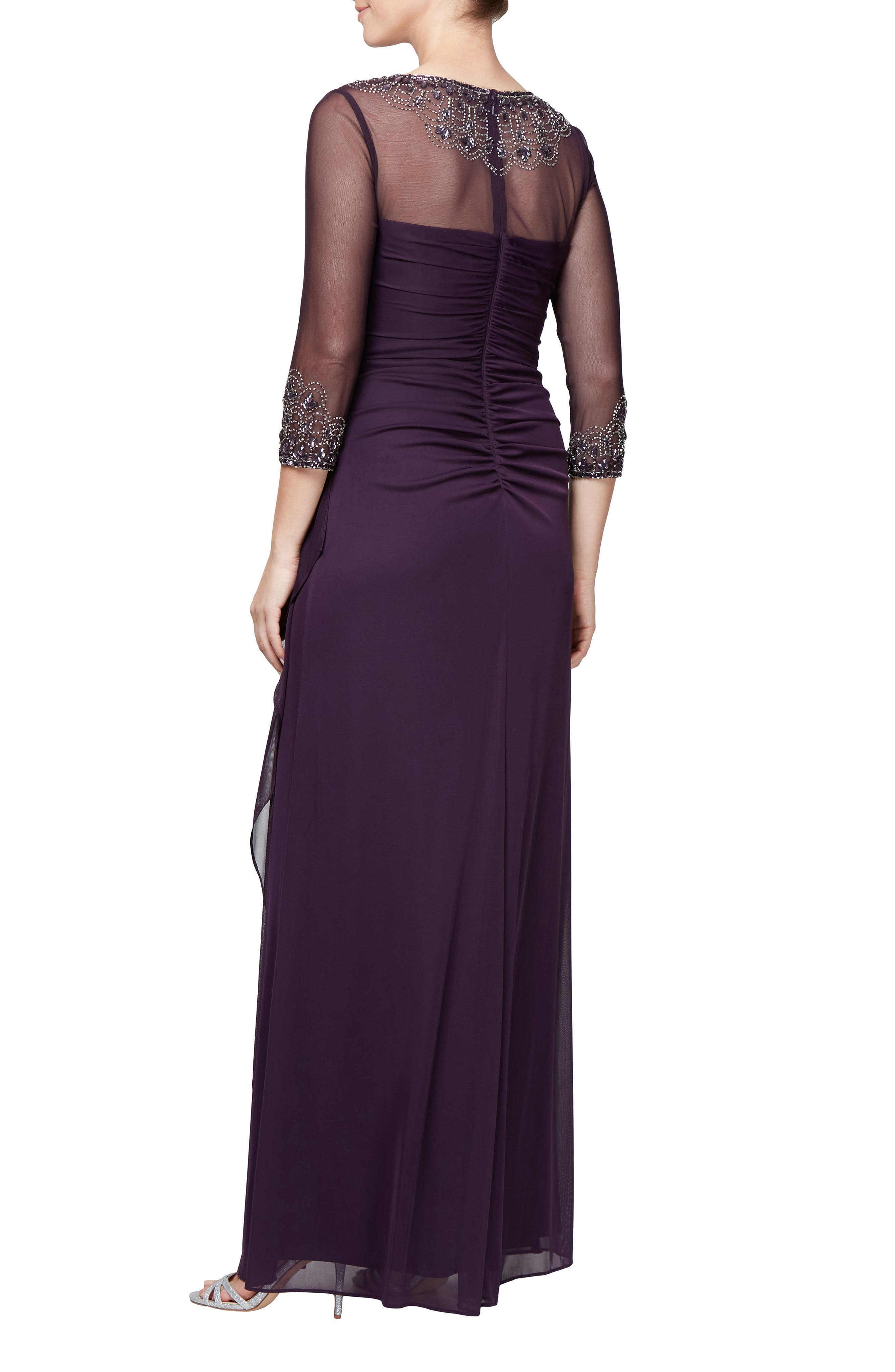 Embellished A-Line Gown,                             Alternate thumbnail 2, color,                             PLUM
