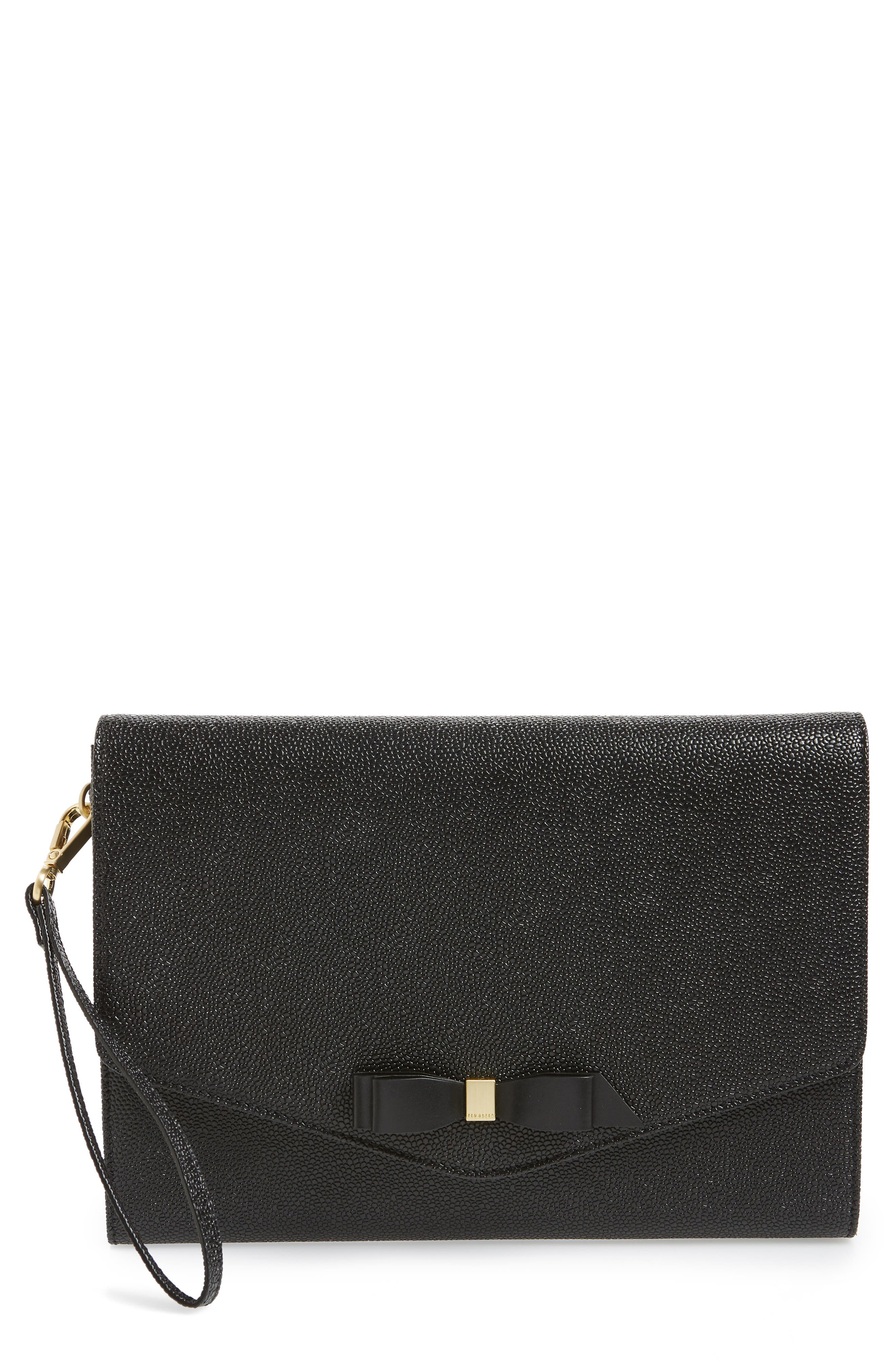 TED BAKER LONDON,                             Krystan Bow Leather Envelope Clutch,                             Main thumbnail 1, color,                             BLACK
