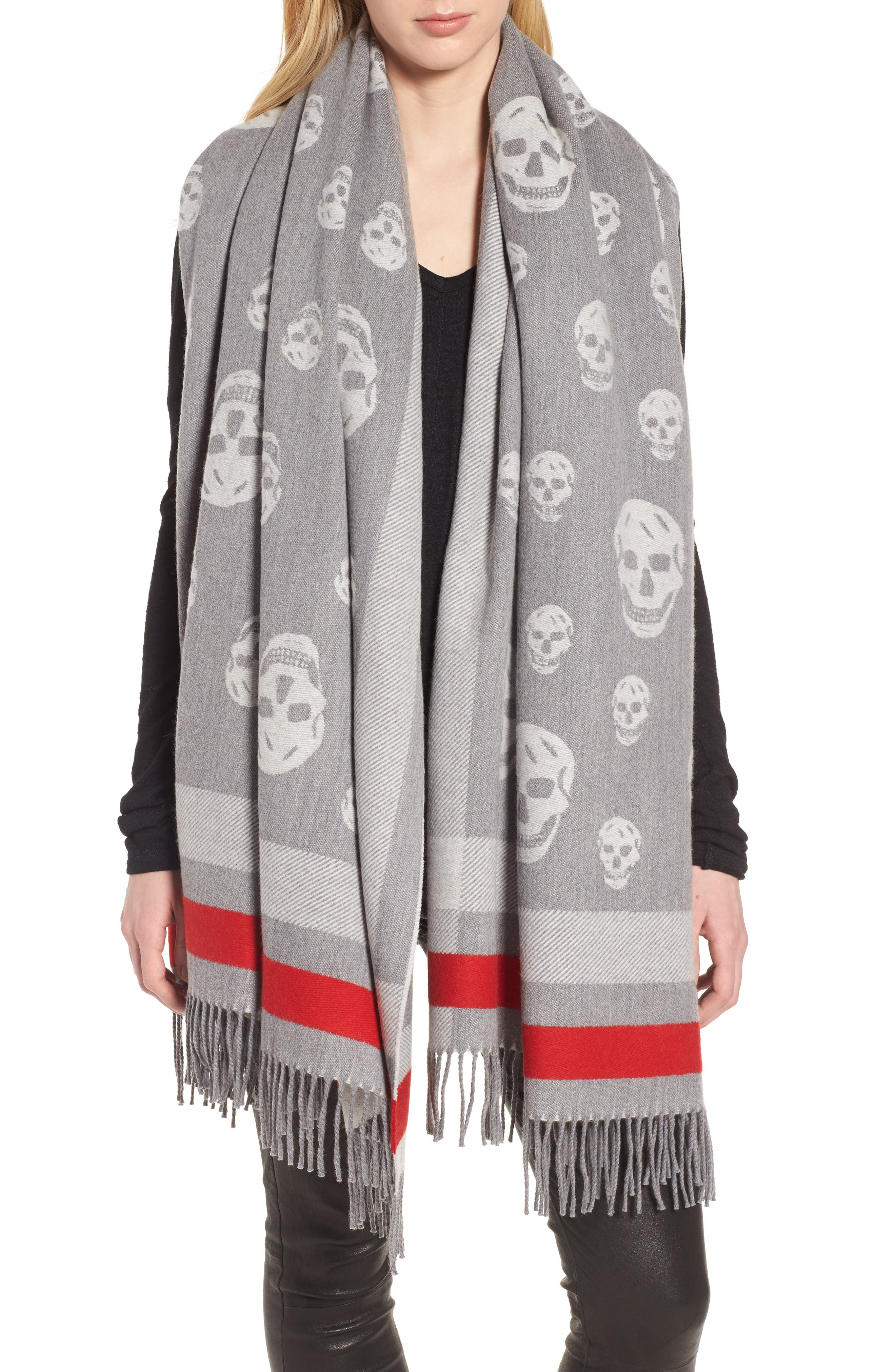 Skull Wool & Cashmere Scarf, Main, color, 020