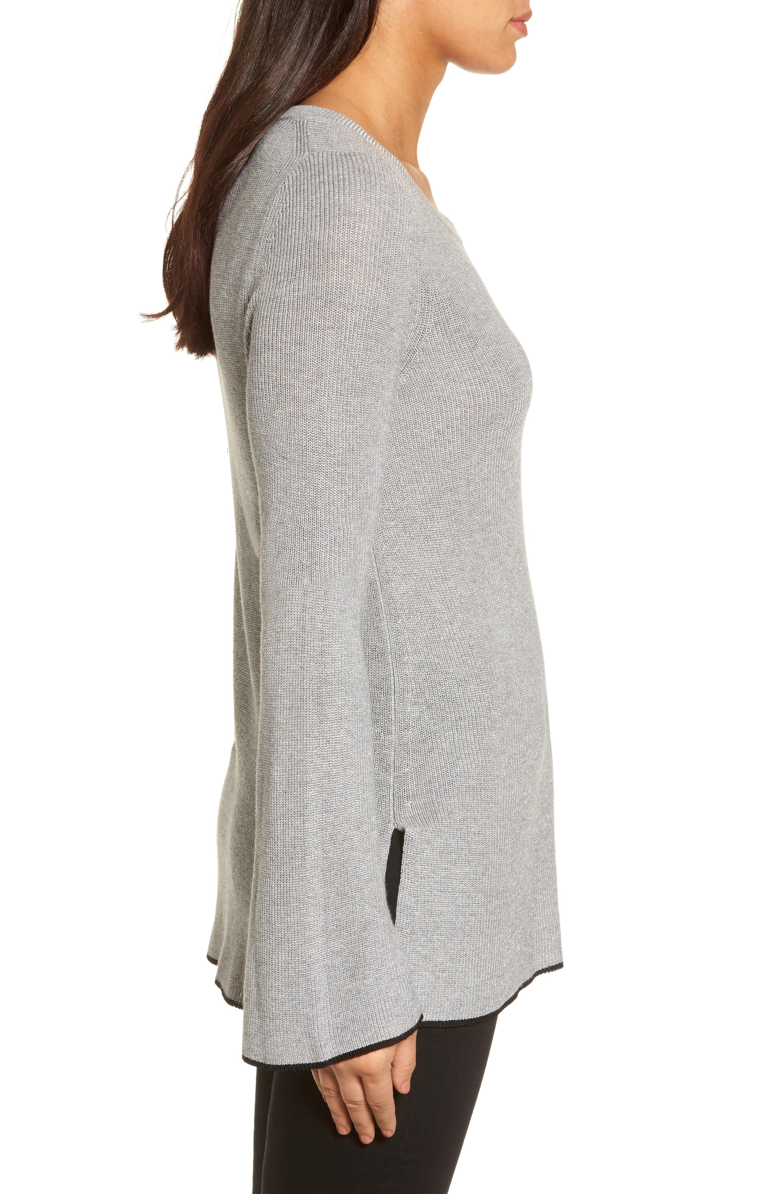 Tipped Bell Sleeve Sweater,                             Alternate thumbnail 16, color,