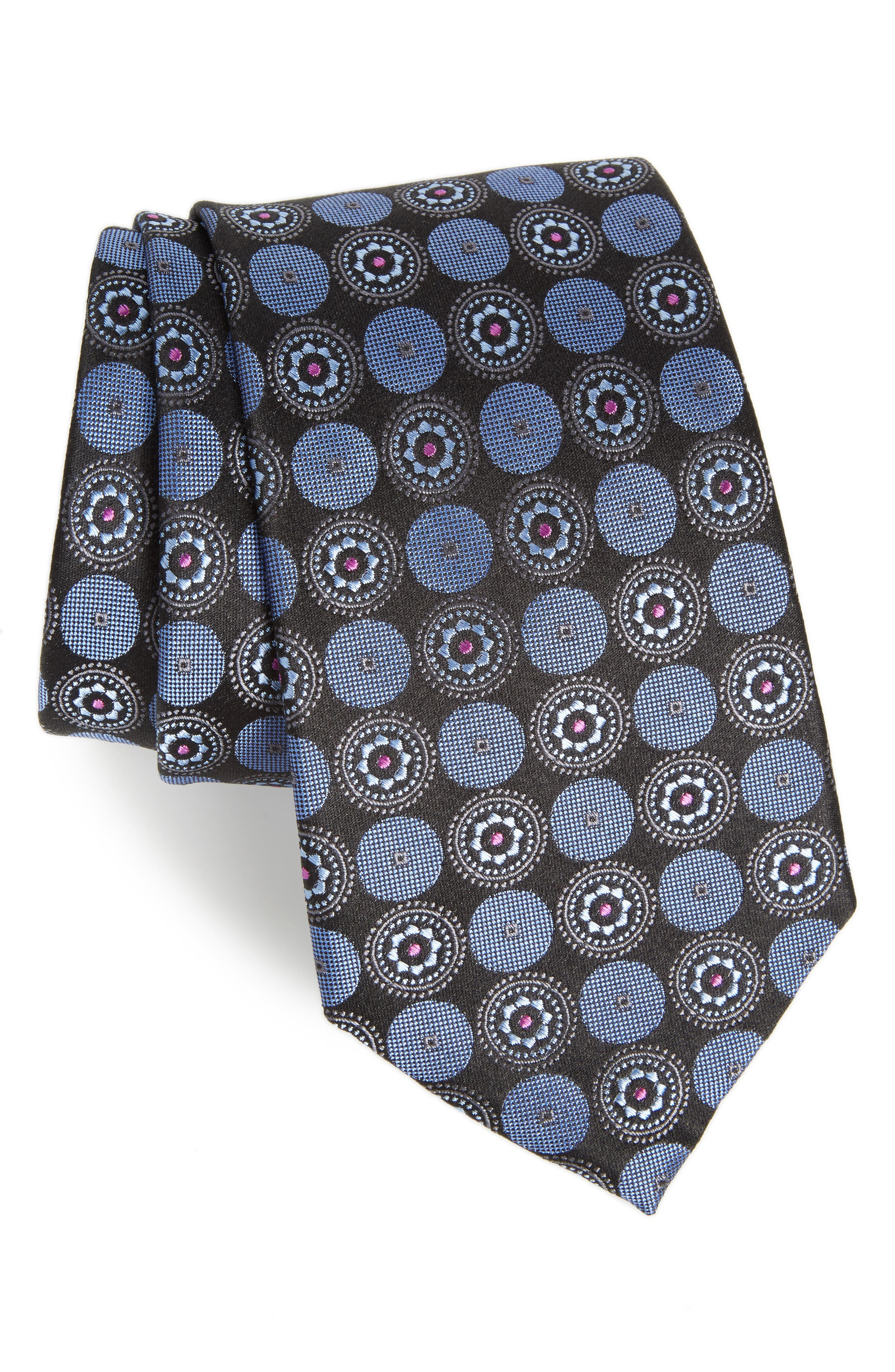 Old English Medallion Silk Tie,                             Main thumbnail 1, color,                             001