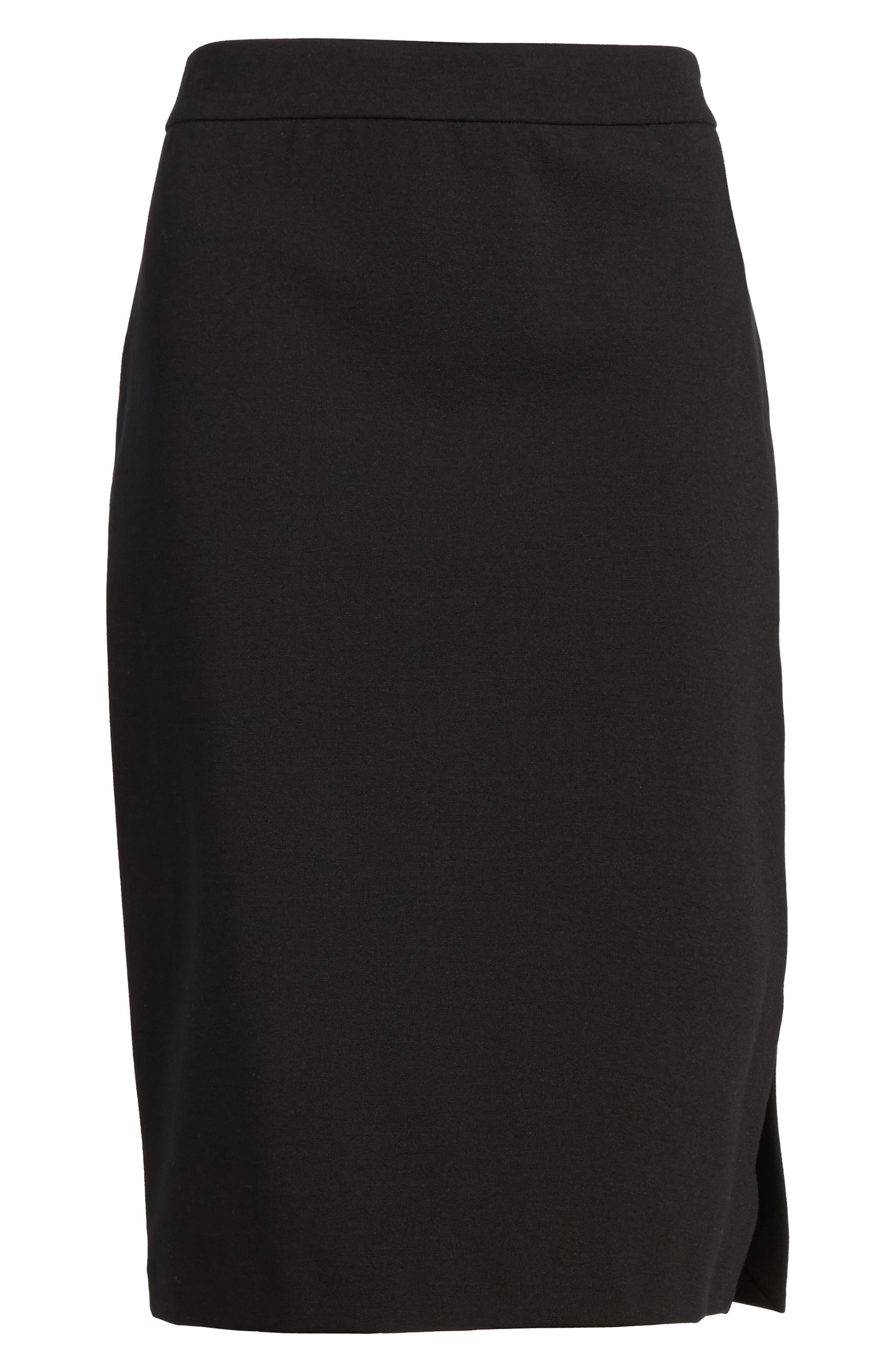 Tencel<sup>®</sup> Blend Pencil Skirt,                             Alternate thumbnail 6, color,                             001