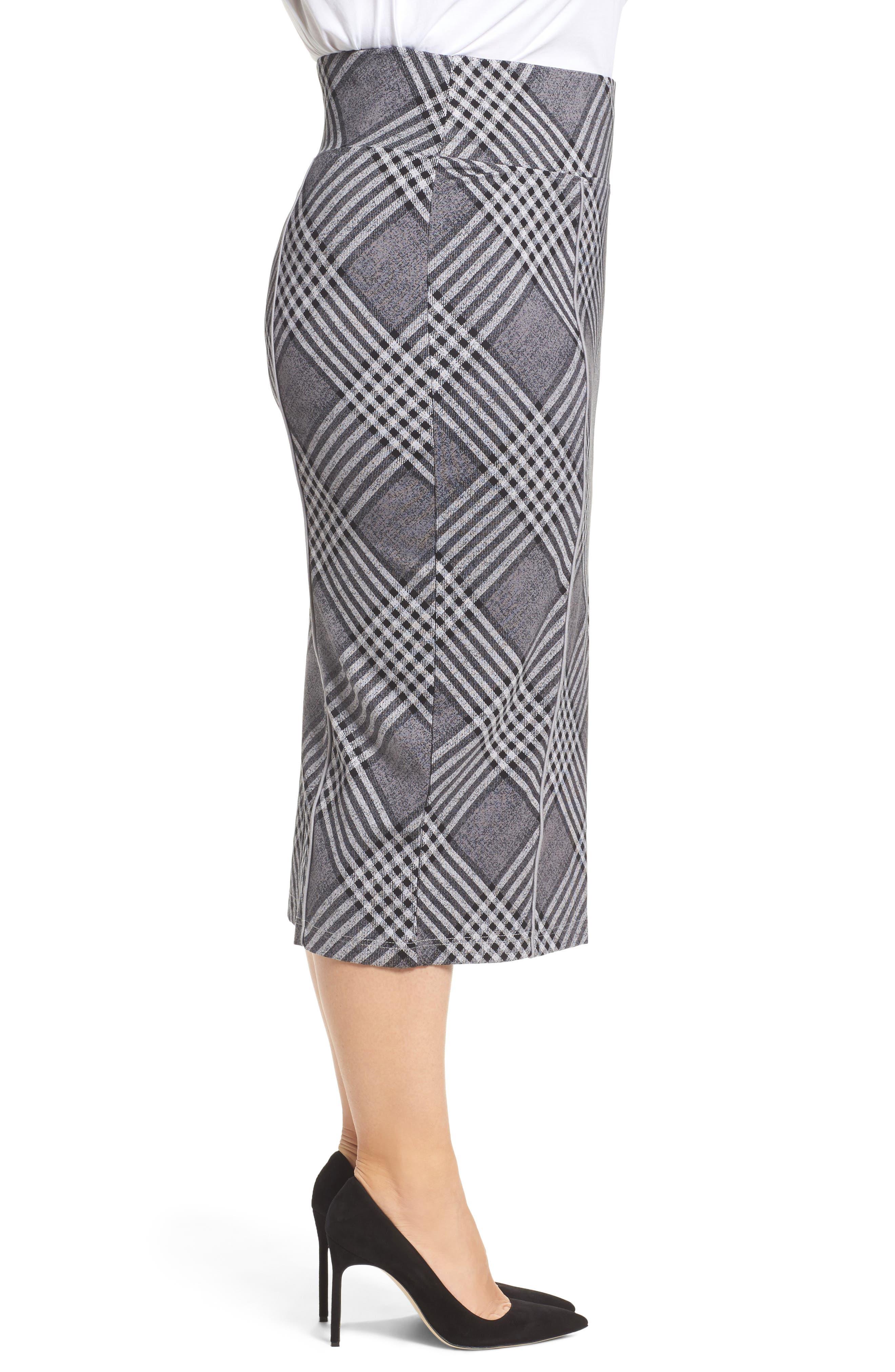Plaid Pencil Skirt,                             Alternate thumbnail 3, color,                             036