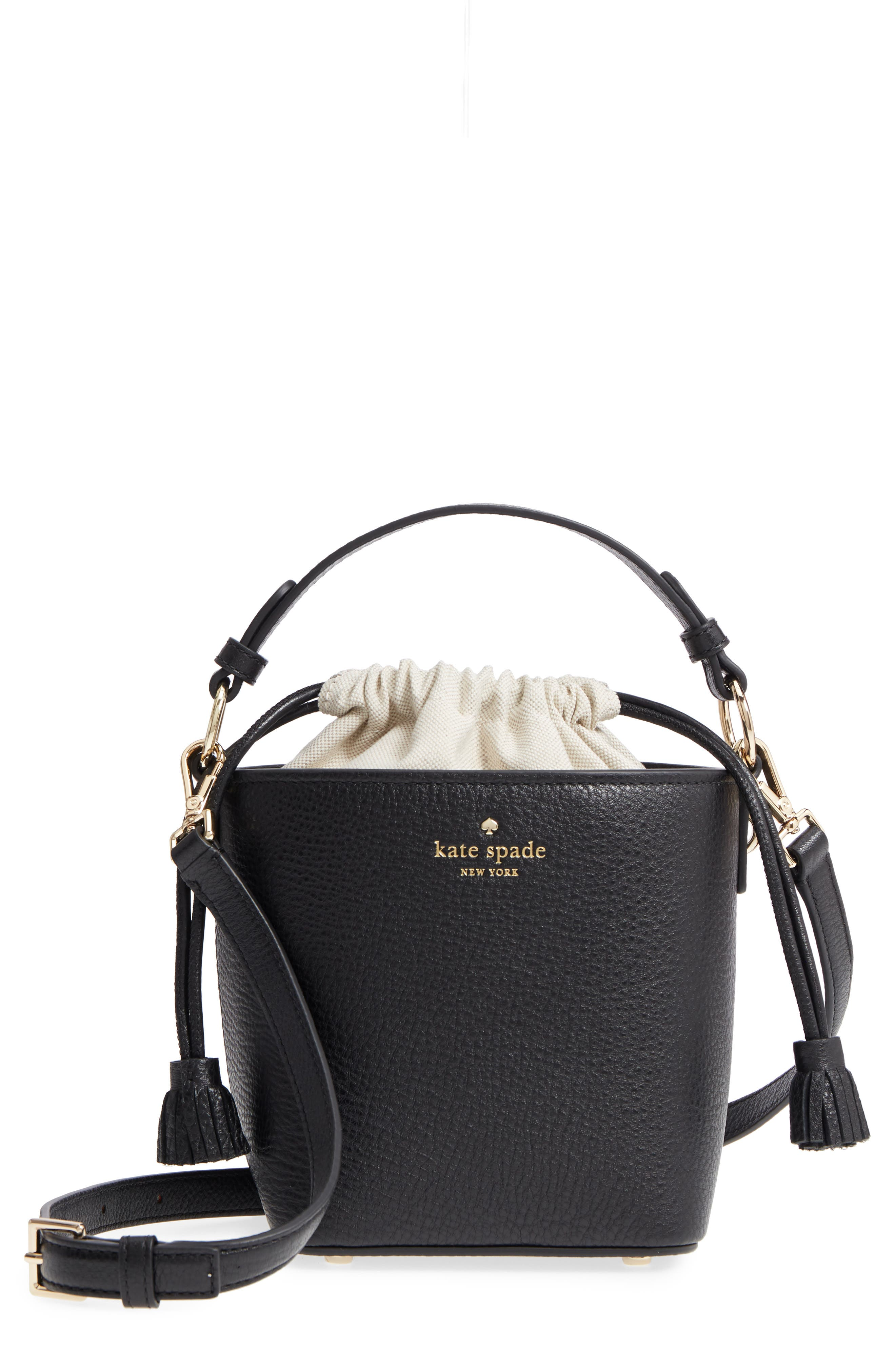 hayes street - pippa leather bucket bag, Main, color, 001