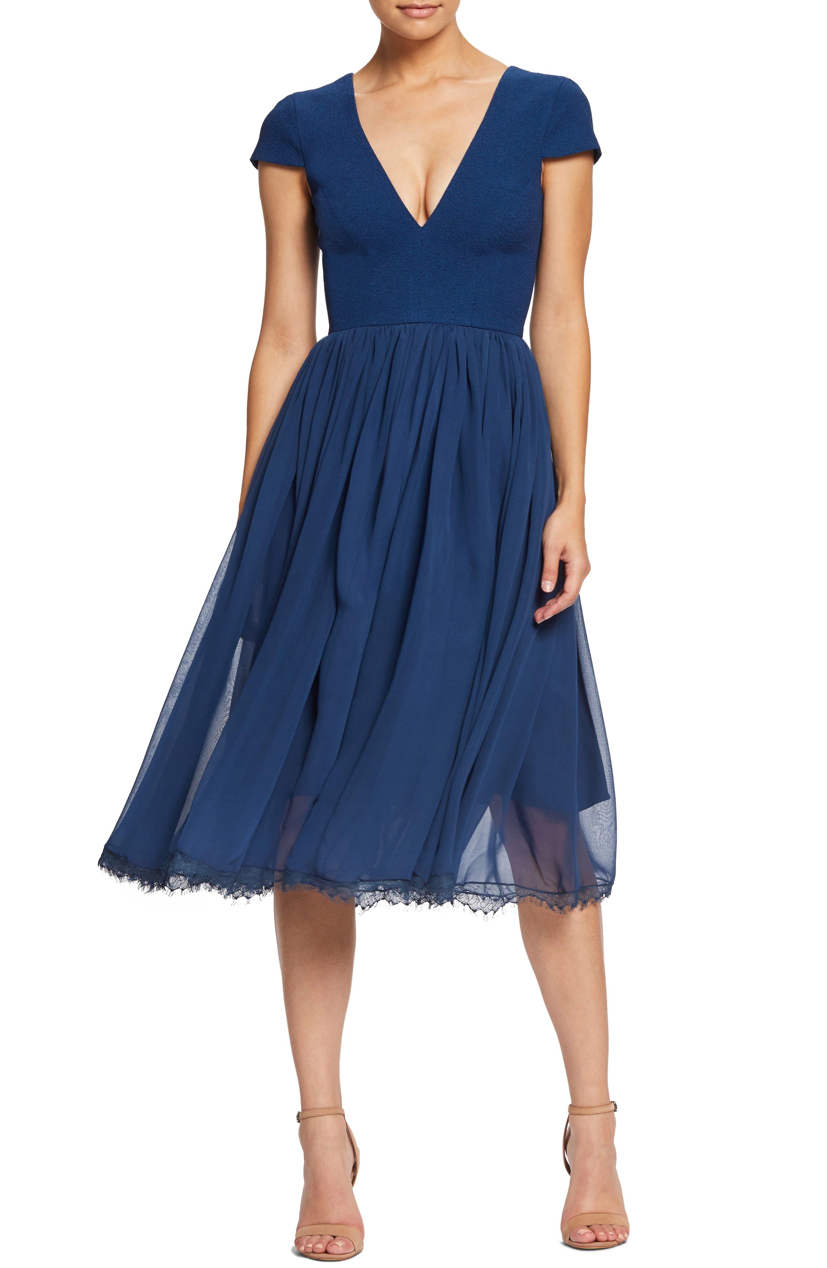 Dress The Population Corey Chiffon Fit & Flare Dress, Blue