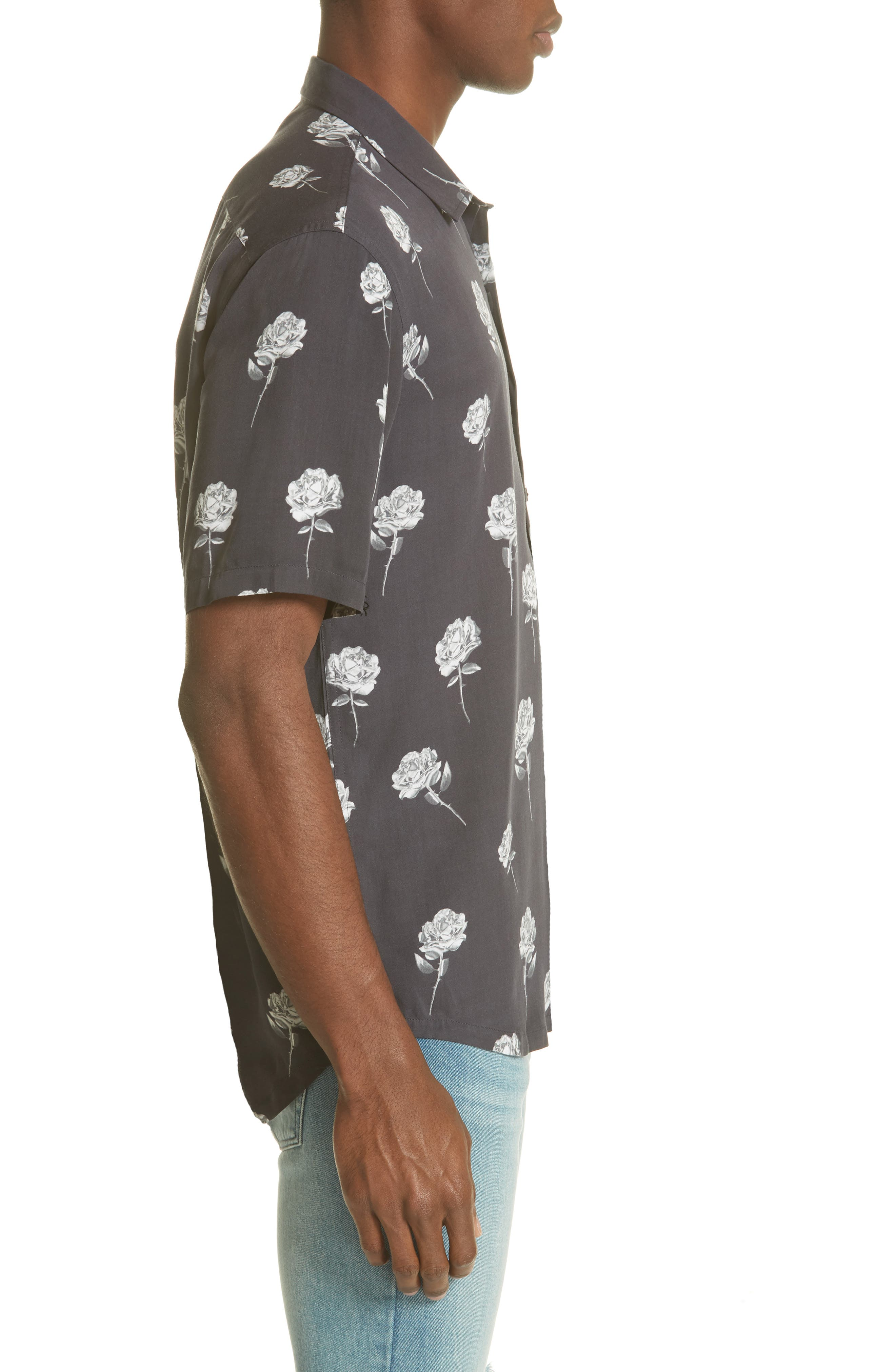 Chrome Rose Print Shirt,                             Alternate thumbnail 4, color,                             BROWN