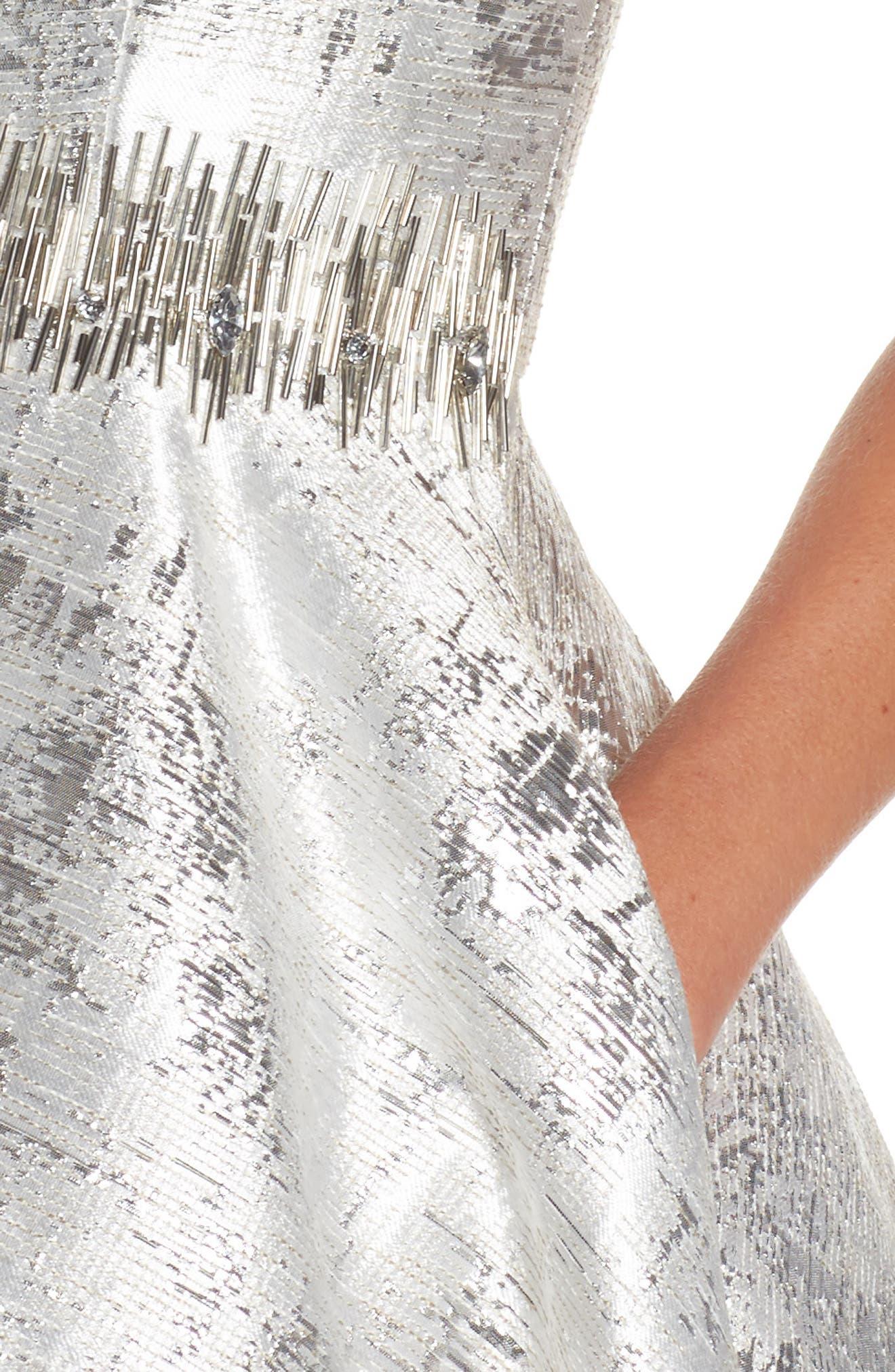 Embellished Metallic Fit & Flare Dress,                             Alternate thumbnail 4, color,                             044