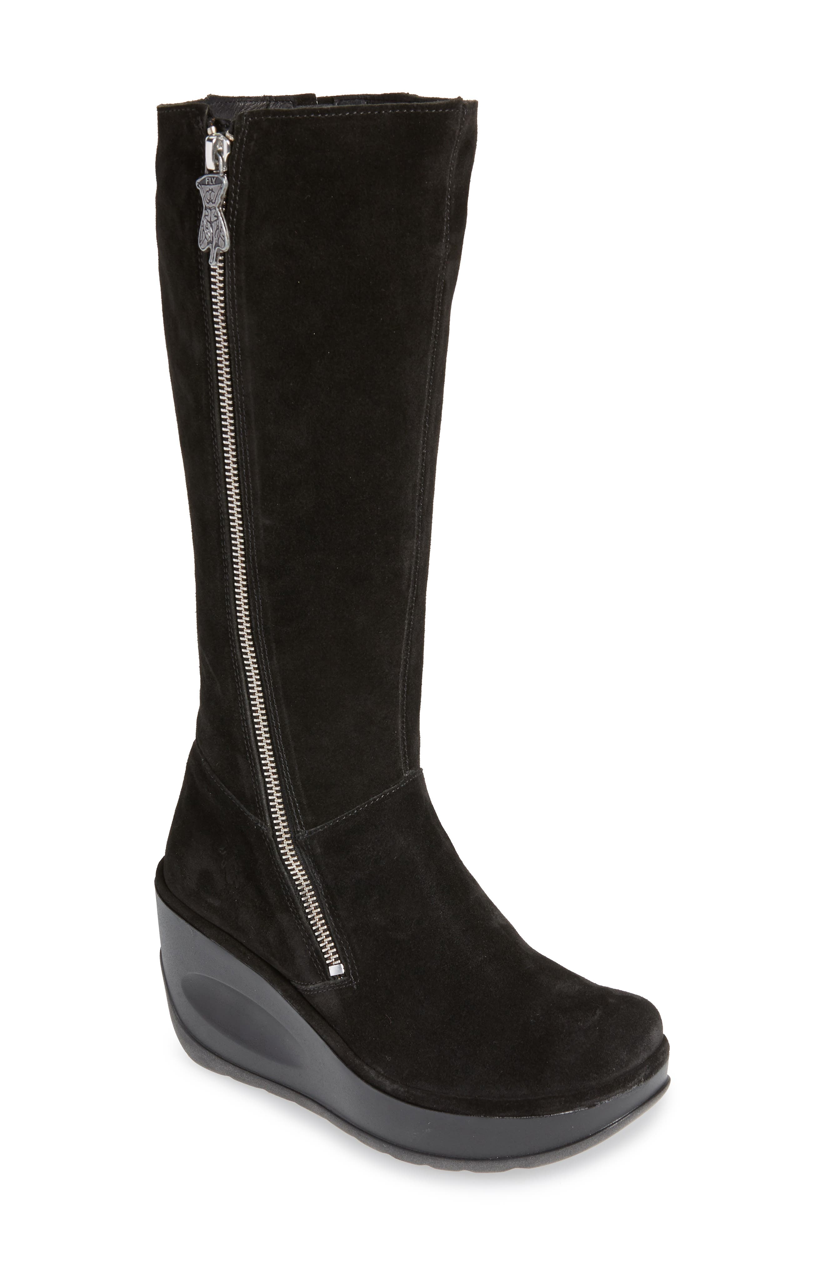 Jate Wedge Boot,                             Main thumbnail 1, color,                             BLACK OIL SUEDE