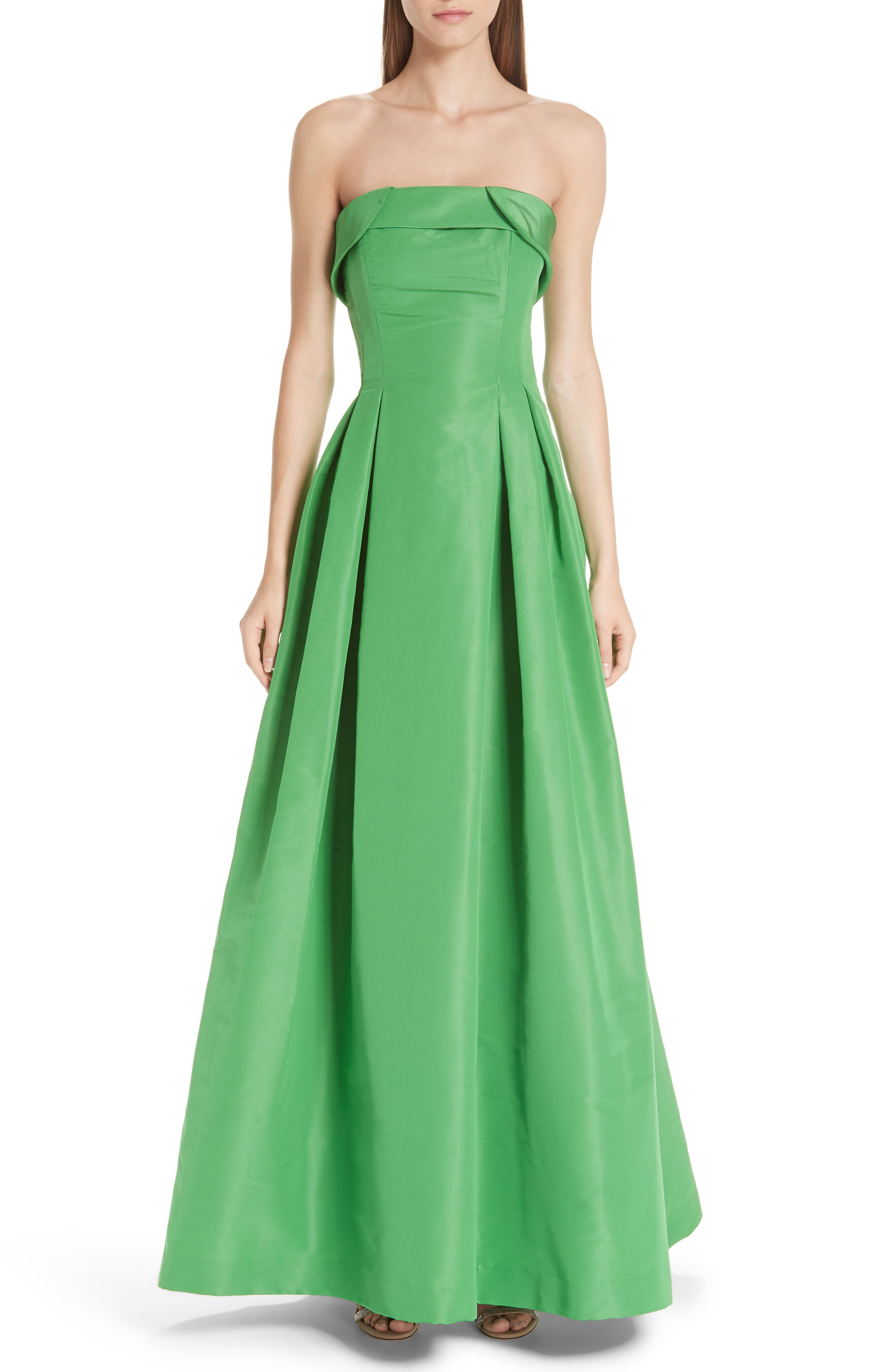 Foldover Strapless Ballgown,                             Main thumbnail 1, color,                             KELLY GREEN