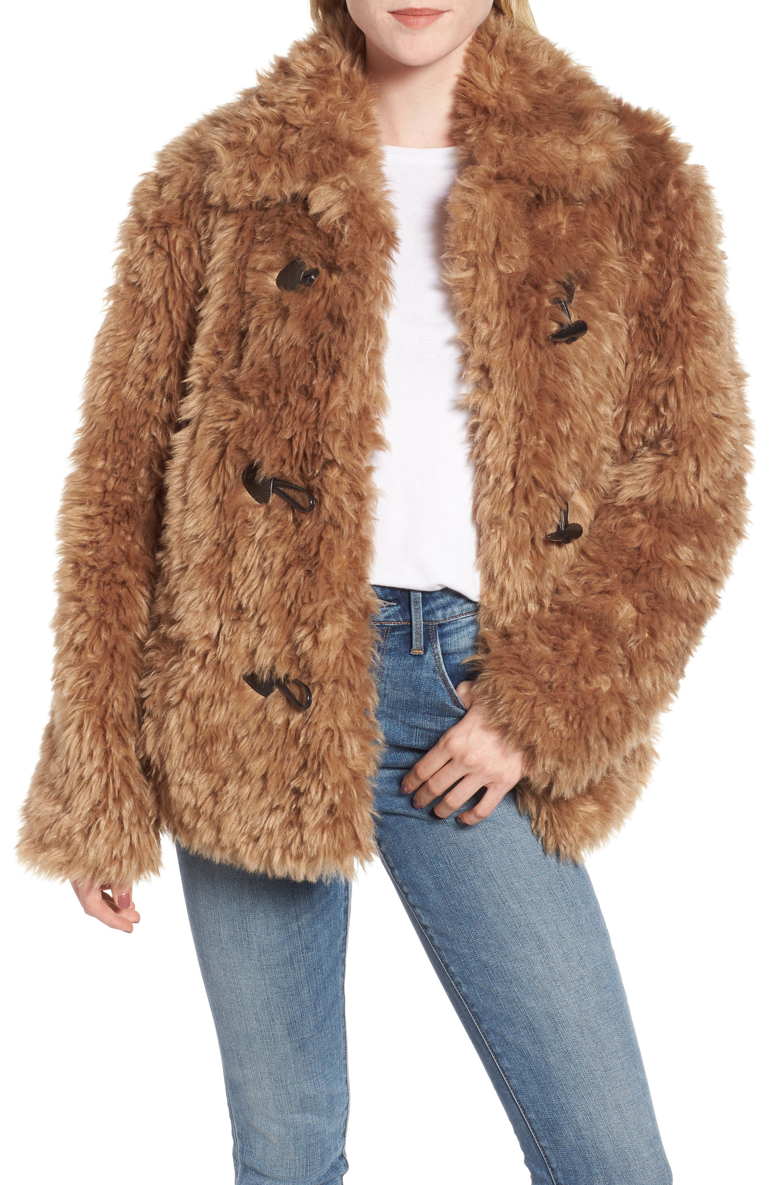 Faux Fur Teddy Coat,                         Main,                         color, 260