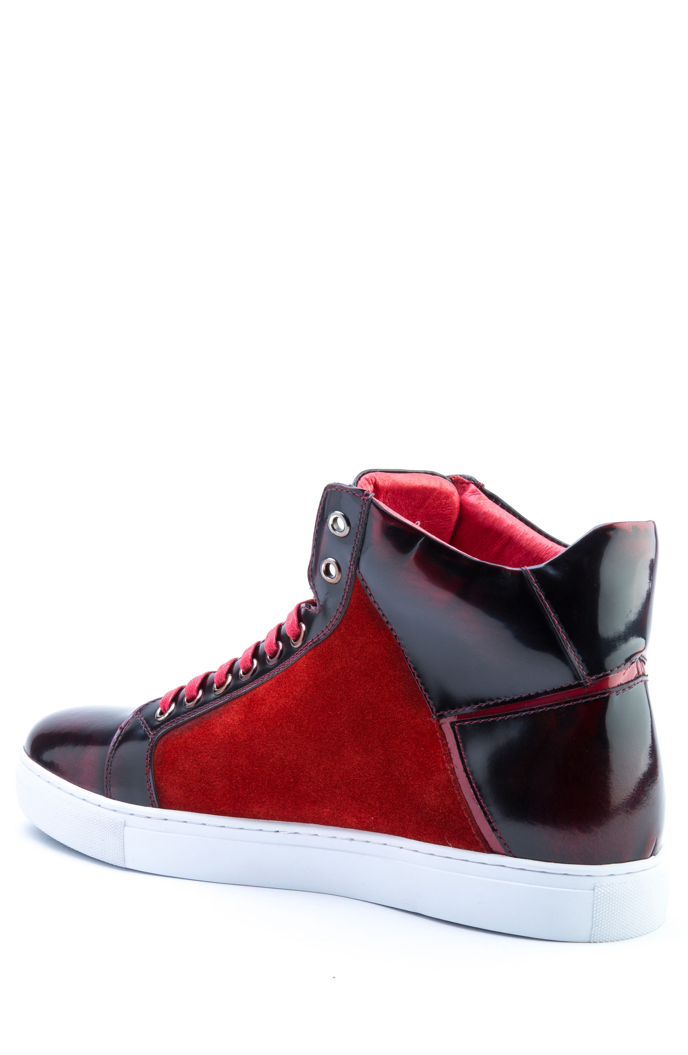 Douglas High Top Sneaker,                             Alternate thumbnail 2, color,                             RED LEATHER