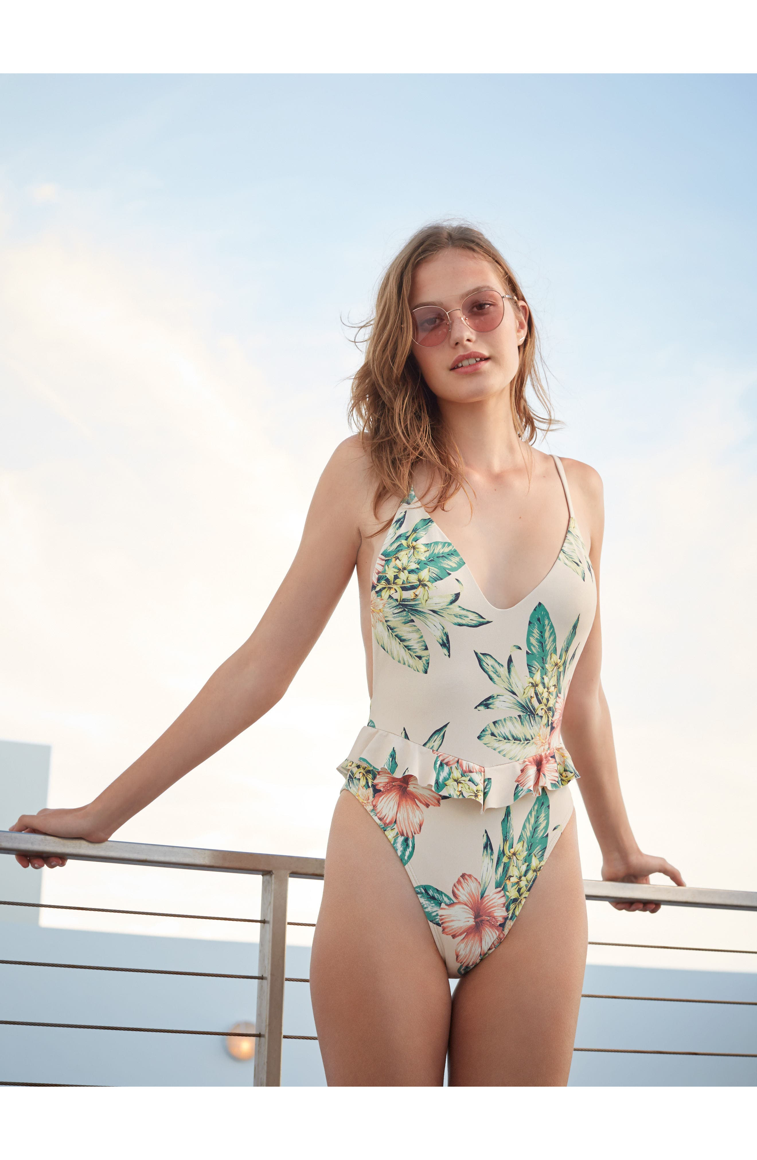 Cynthia One-Piece Swimsuit,                             Alternate thumbnail 7, color,                             100