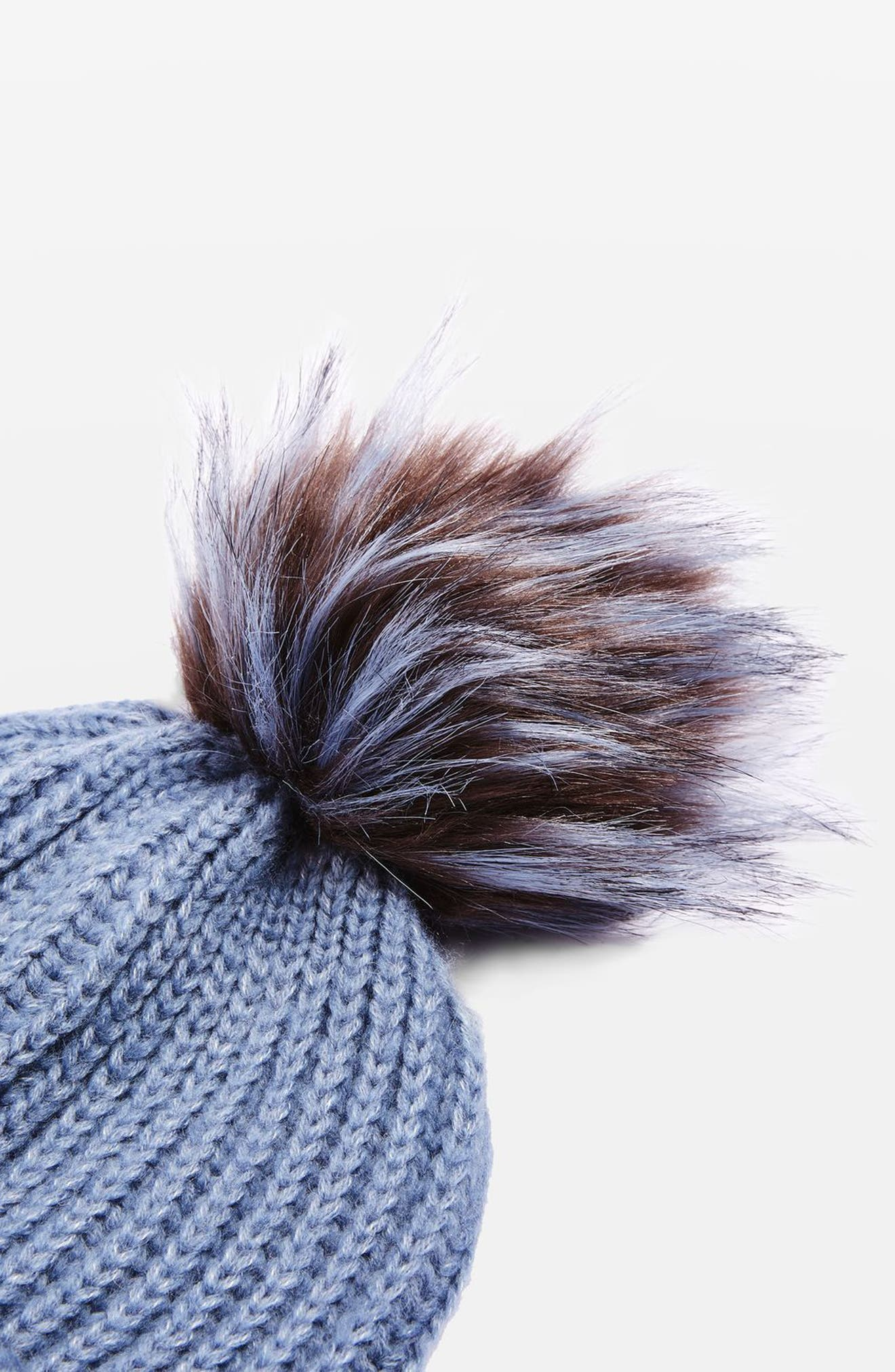 Faux Fur Pompom Beanie,                             Alternate thumbnail 7, color,