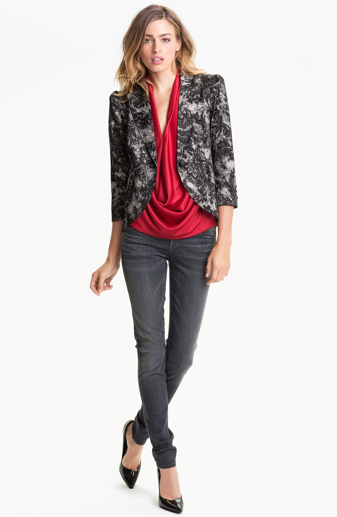 Lace Print Blazer,                             Alternate thumbnail 3, color,                             001