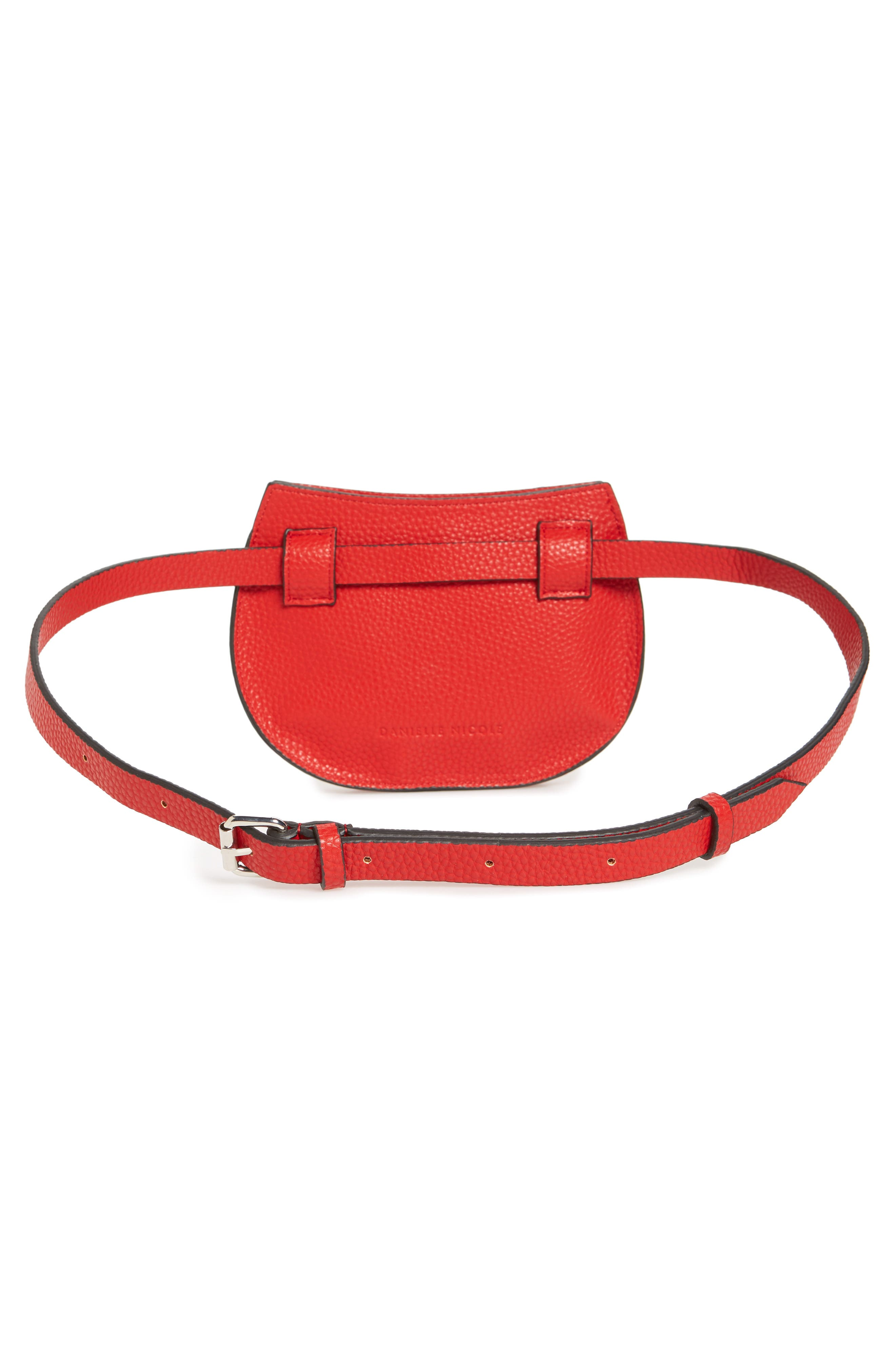 Trish Faux Leather Belt Bag,                             Alternate thumbnail 4, color,                             RED