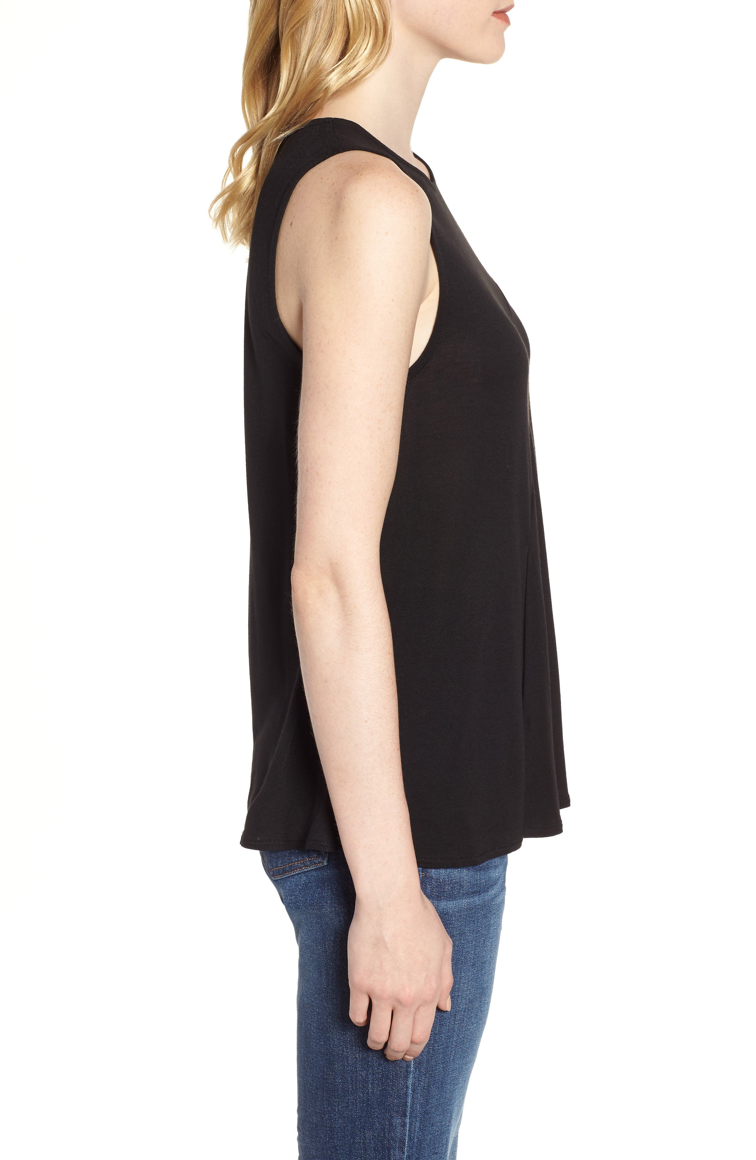 Pleated Swing Tank Top,                             Alternate thumbnail 3, color,                             001