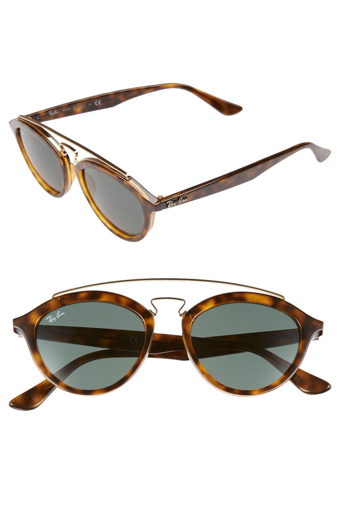 Highstreet 50mm Brow Bar Sunglasses,                             Main thumbnail 4, color,