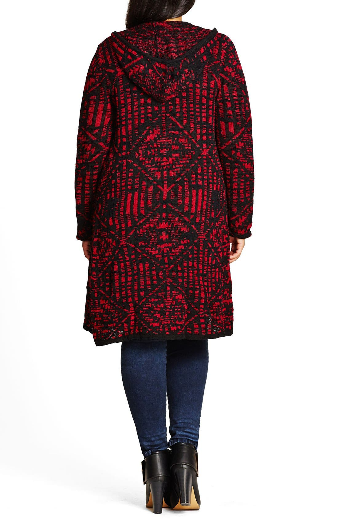 Geo Pattern Hooded Cardigan,                             Alternate thumbnail 11, color,