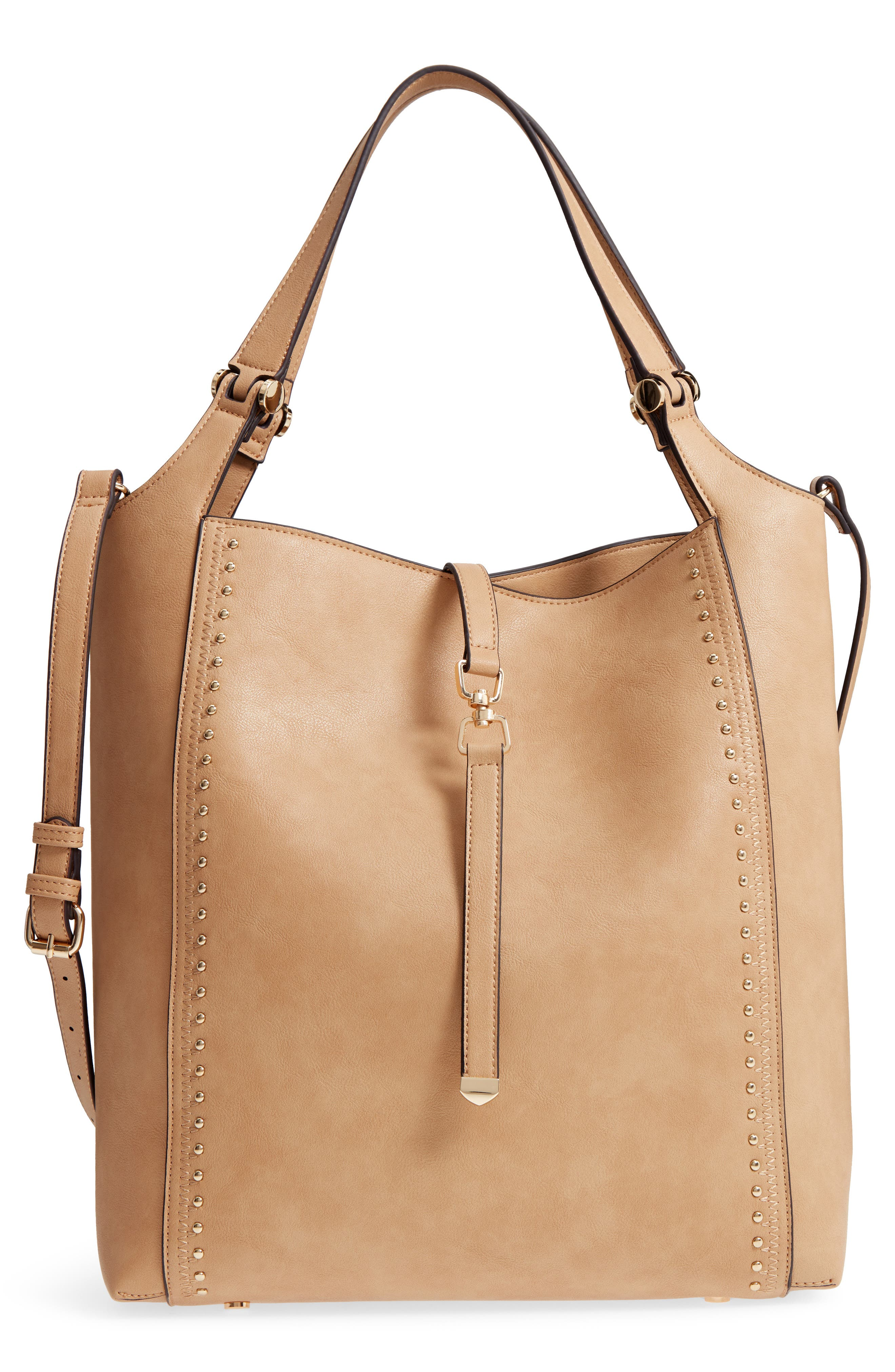 Large Studded Faux Leather Tote,                             Main thumbnail 2, color,