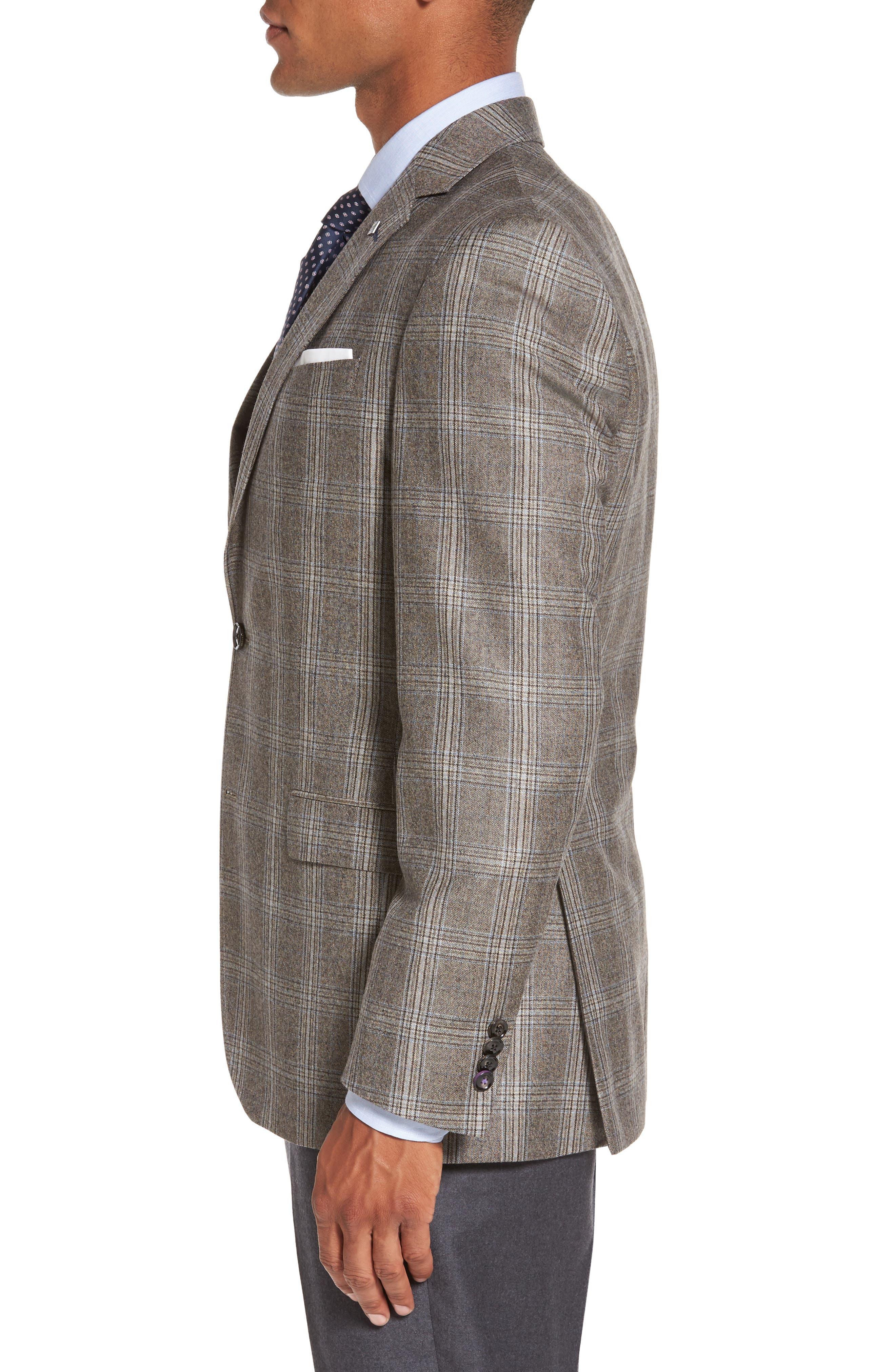 Jay Trim Fit Plaid Wool Sport Coat,                             Alternate thumbnail 3, color,                             230