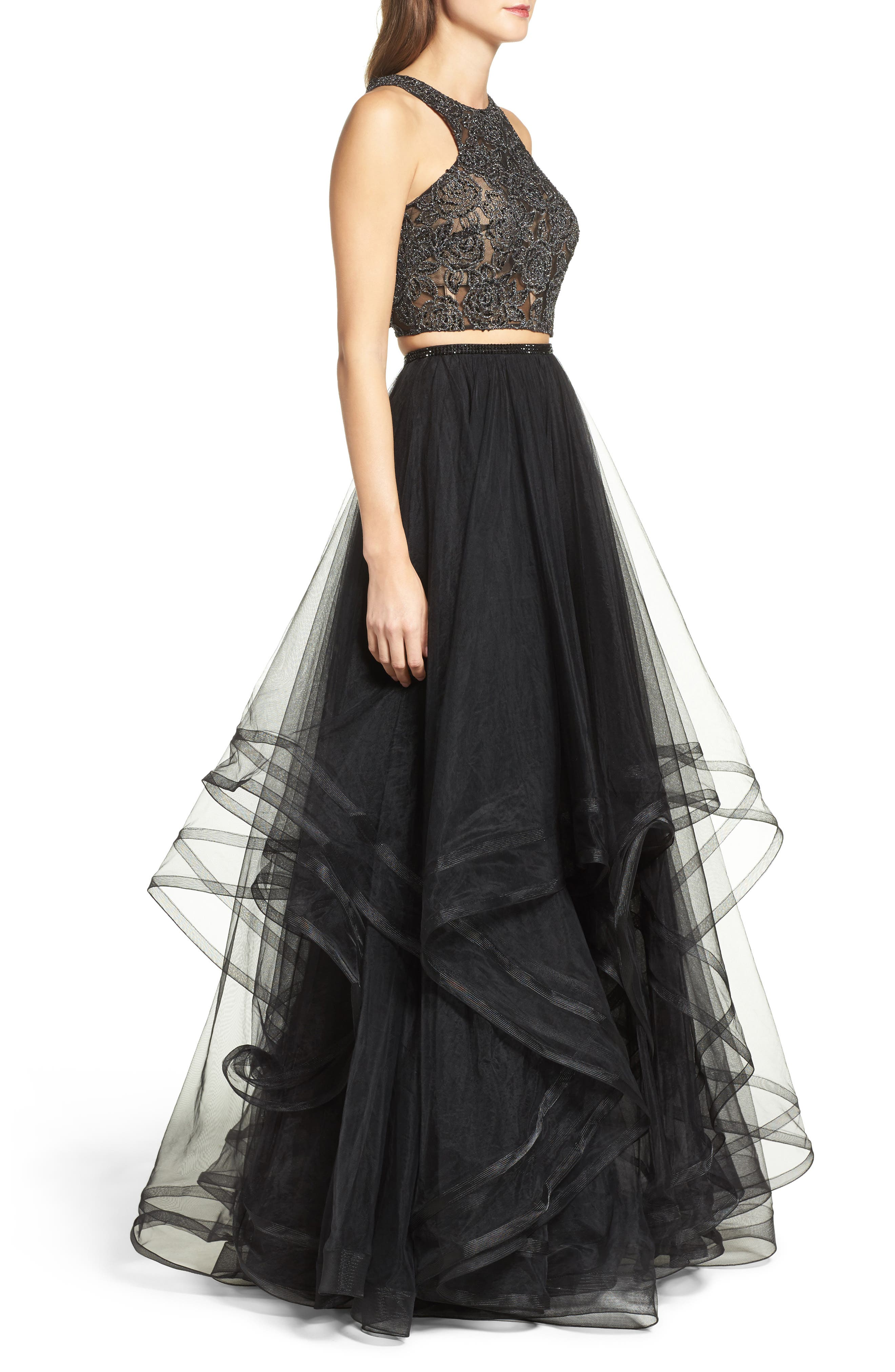Embellished Lace Two-Piece Gown,                             Alternate thumbnail 5, color,