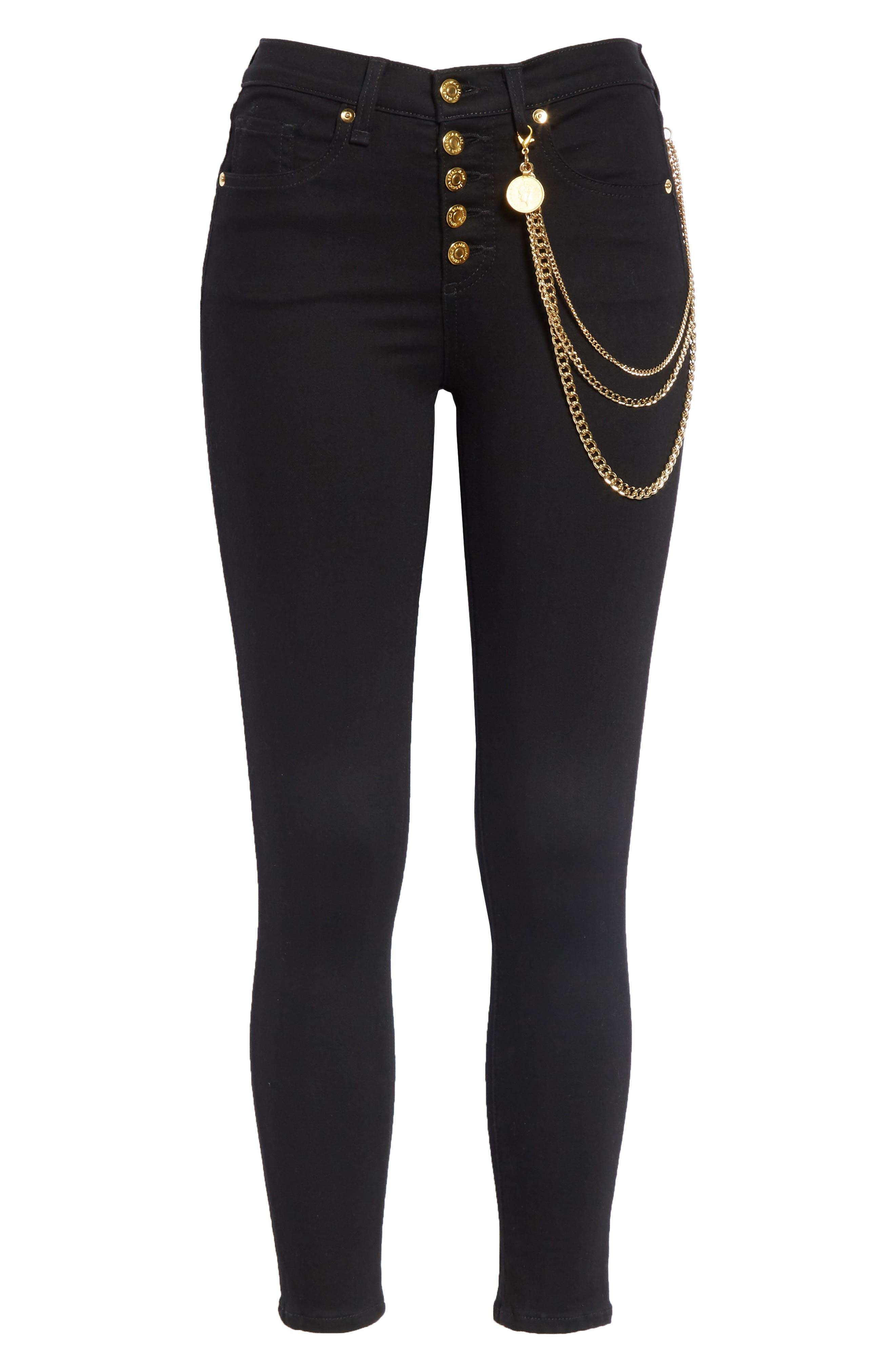 Debbie 10 Chain Belt High Waist Skinny Jeans,                             Alternate thumbnail 6, color,                             RAVEN