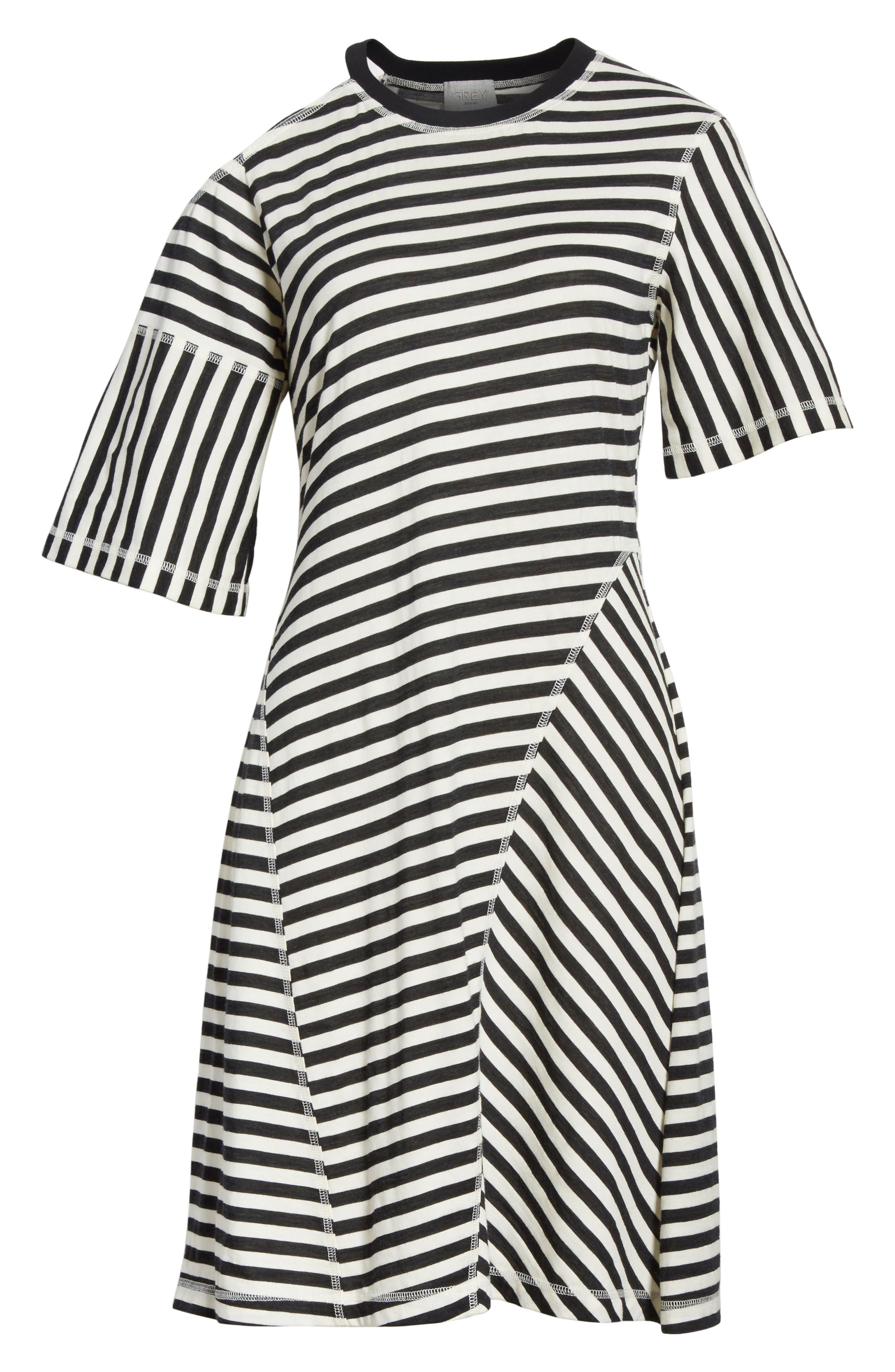 Stripe Jersey Cold Shoulder Dress,                             Alternate thumbnail 6, color,                             001