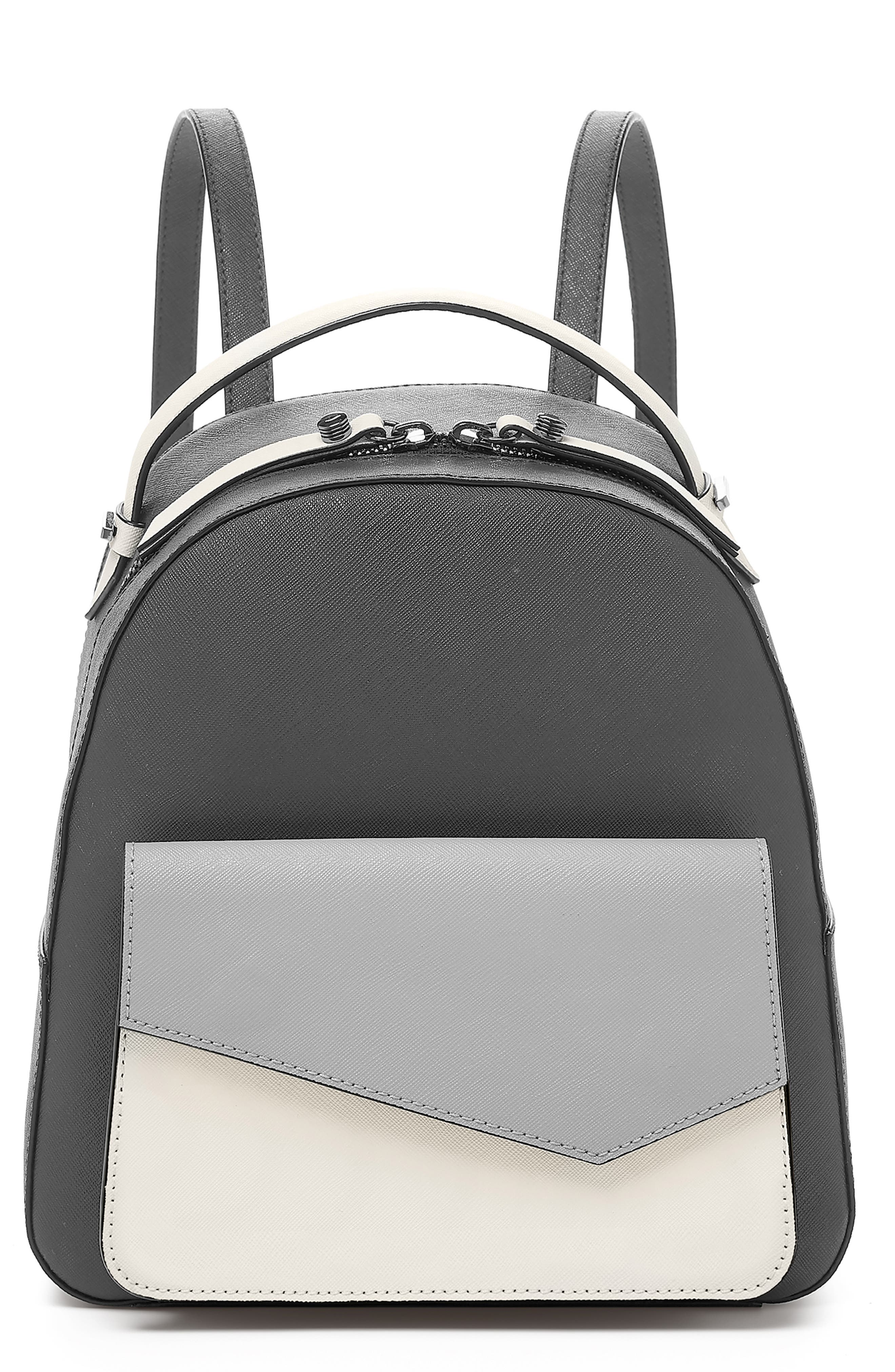 Cobble Hill Leather Backpack,                             Main thumbnail 1, color,                             PEWTER COMBO