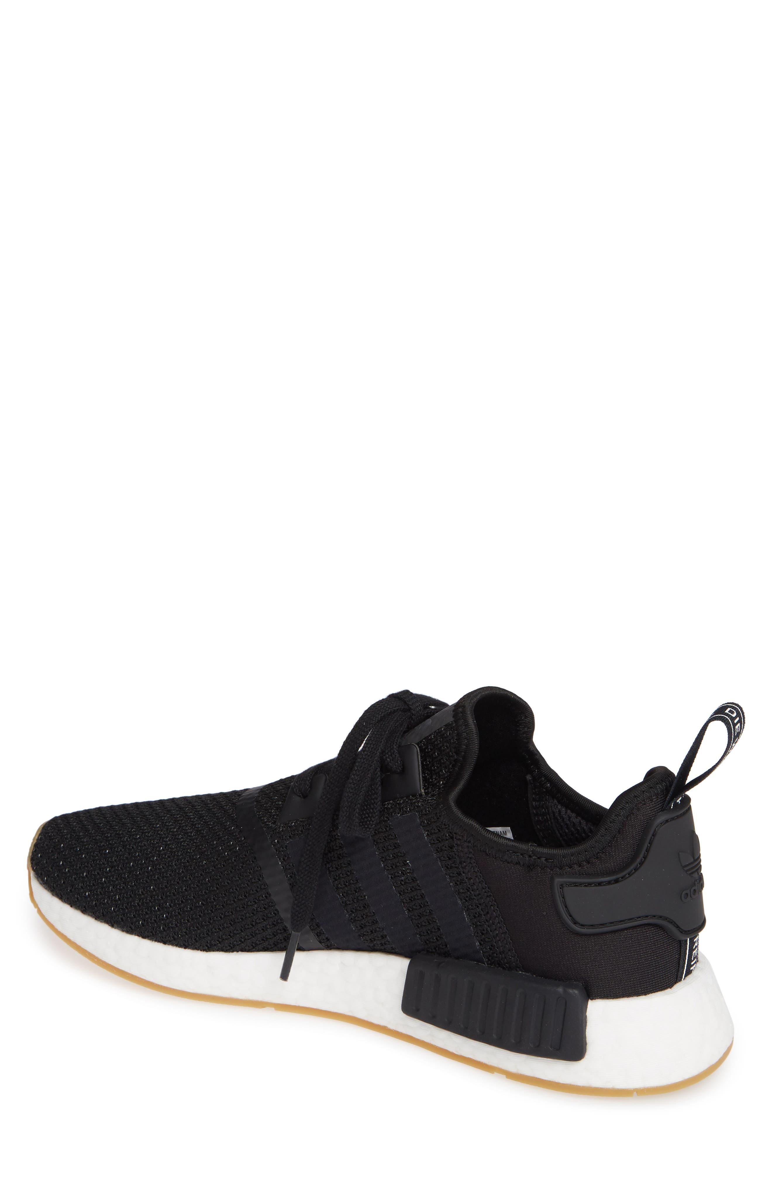 Originals NMD R1 Sneaker,                             Alternate thumbnail 2, color,                             BLACK/ BLACK/ GUM