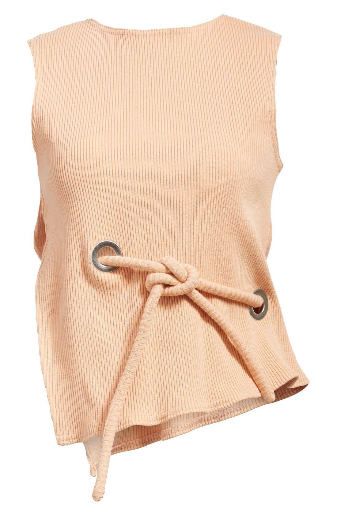 Sleeveless Ribbed Stretch Cotton Top,                             Alternate thumbnail 7, color,                             950