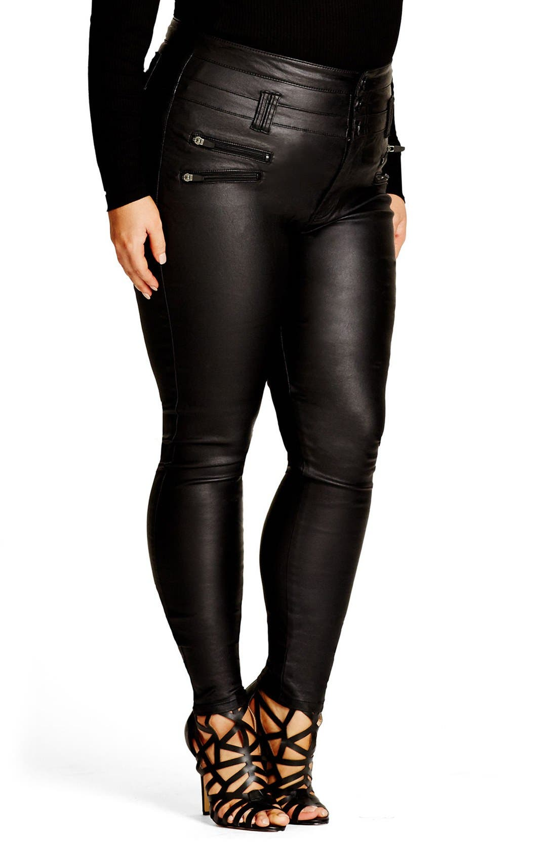 Coated Corset Skinny Jeans,                             Alternate thumbnail 4, color,                             001