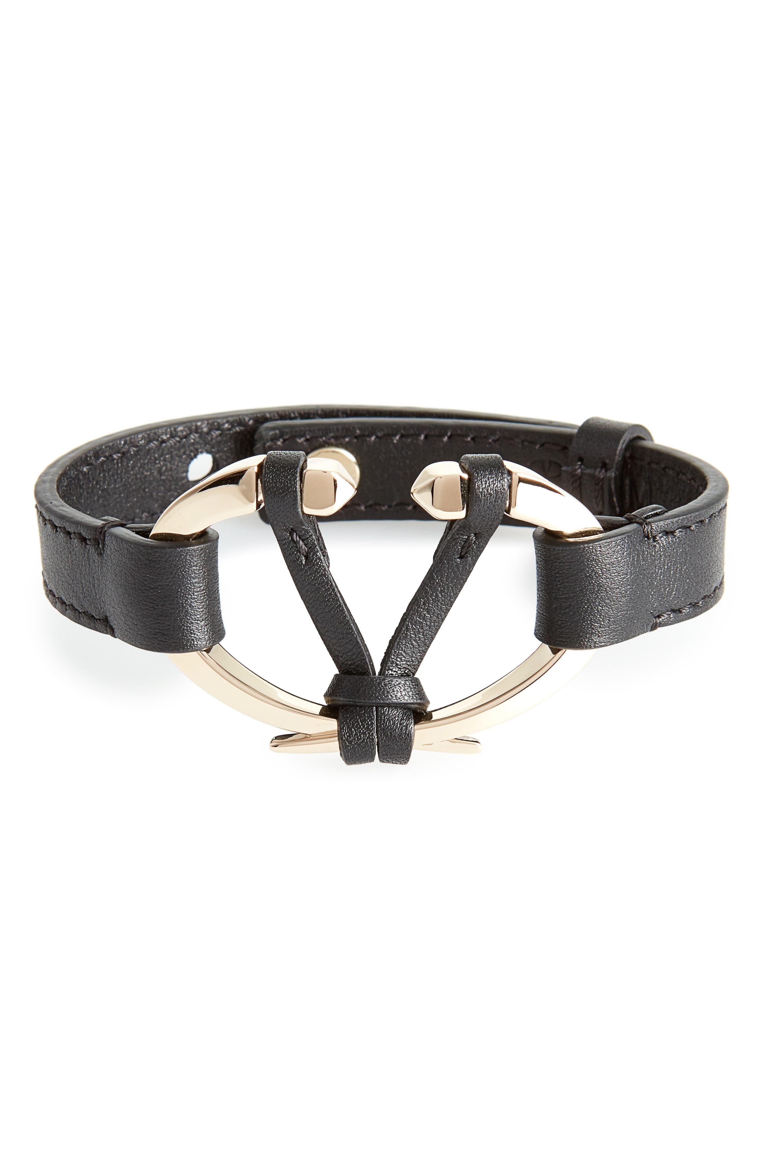 Rockstud V Leather Bracelet,                         Main,                         color, 002